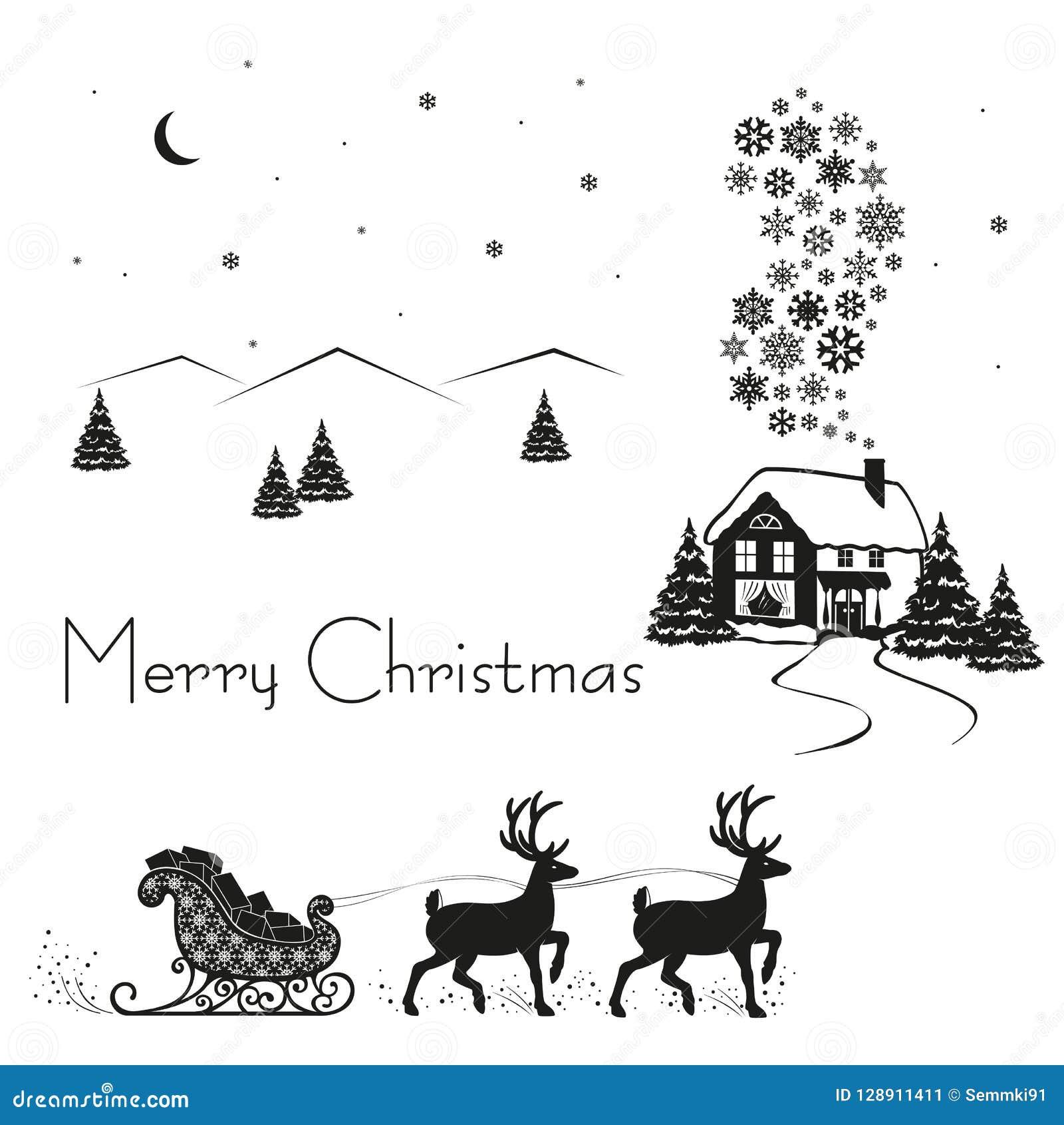 Herten gedreven slee van Santa Claus met giften, zwart silhouet op witte sneeuw, vectorillustratie