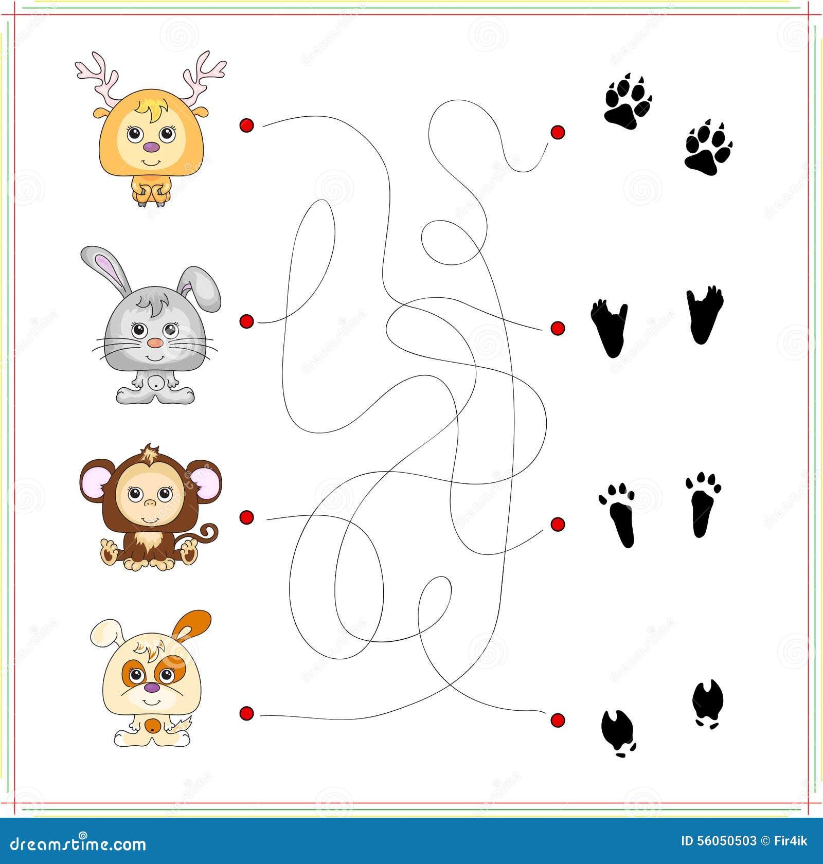 Herten konijn aap en hond met hun sporen van voet vector illustratie afbeelding 56050503 - Baby voet verkoop ...