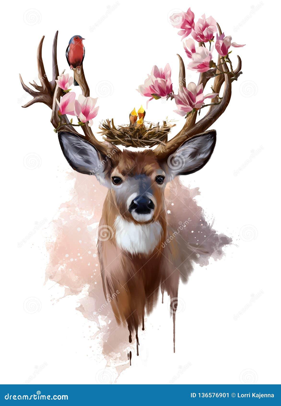 Herten, vogel en bloemen met rode borst