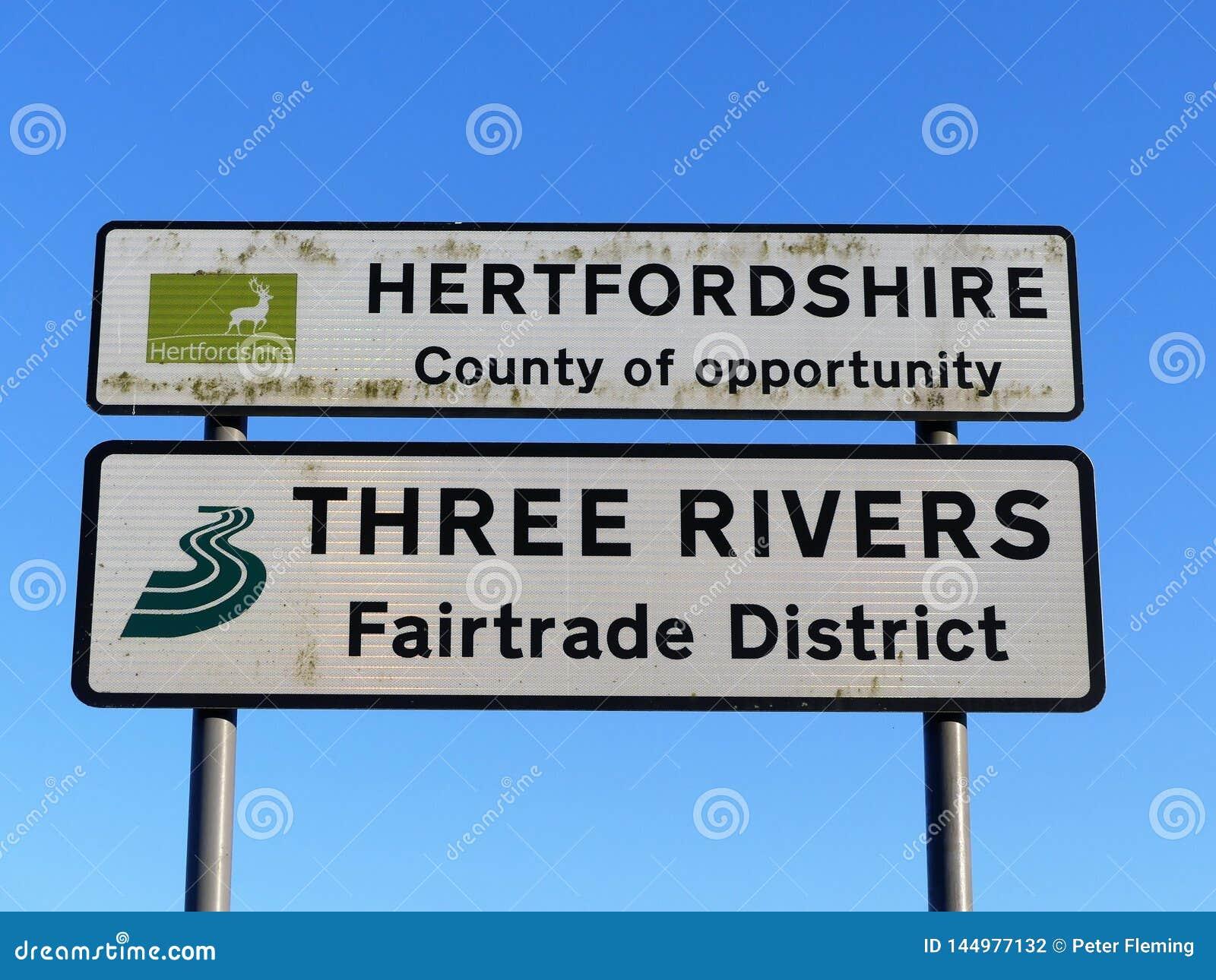 Hertfordshire län av tillfället och tre tecken för flodFairtrade område