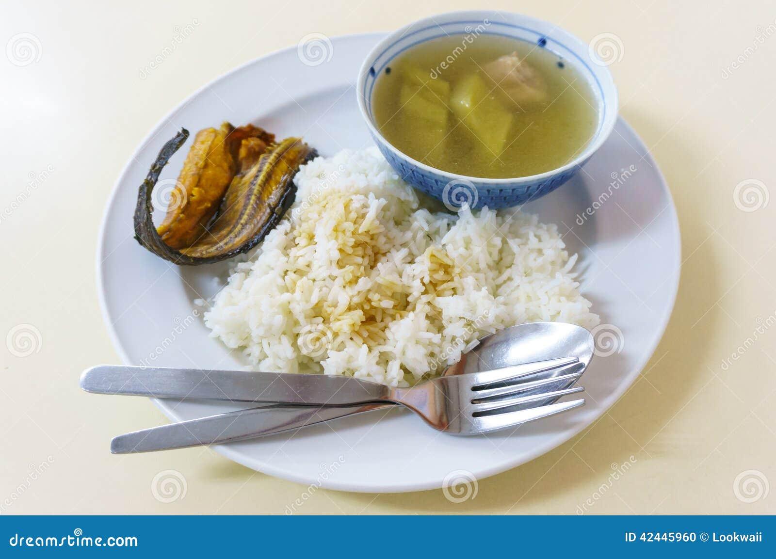 Hervido de la calabaza con arroz cocido al vapor