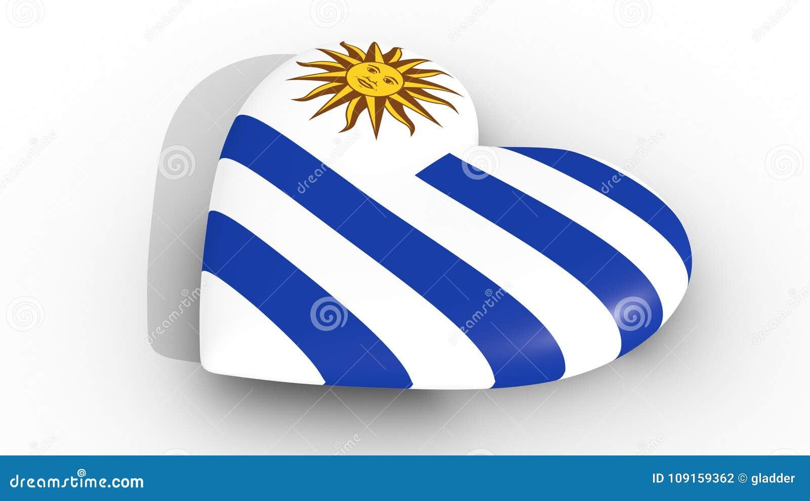 Herz In Den Farben Von Uruguay-Flagge, Auf Einem Weißen Hintergrund ...