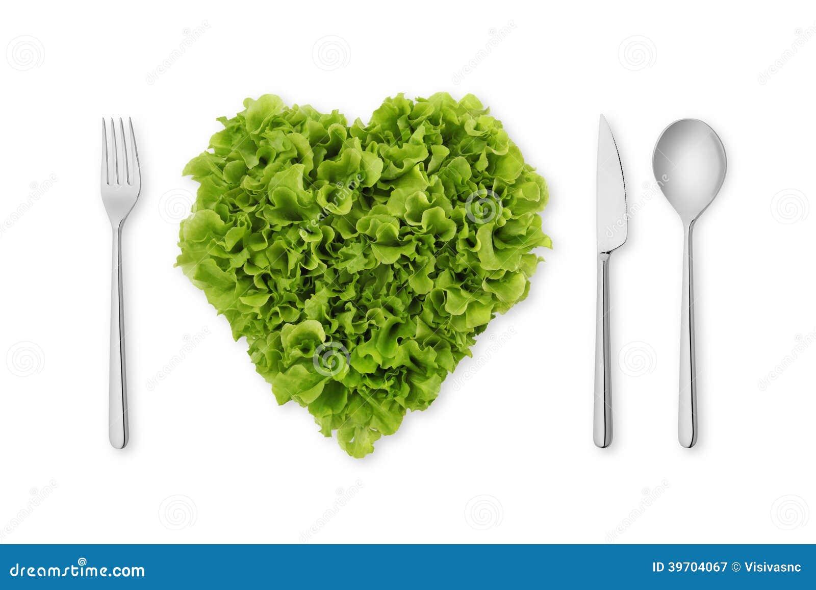 Herz-förmiger Salat, Kopfsalat mit Gabel, Löffel, Messer