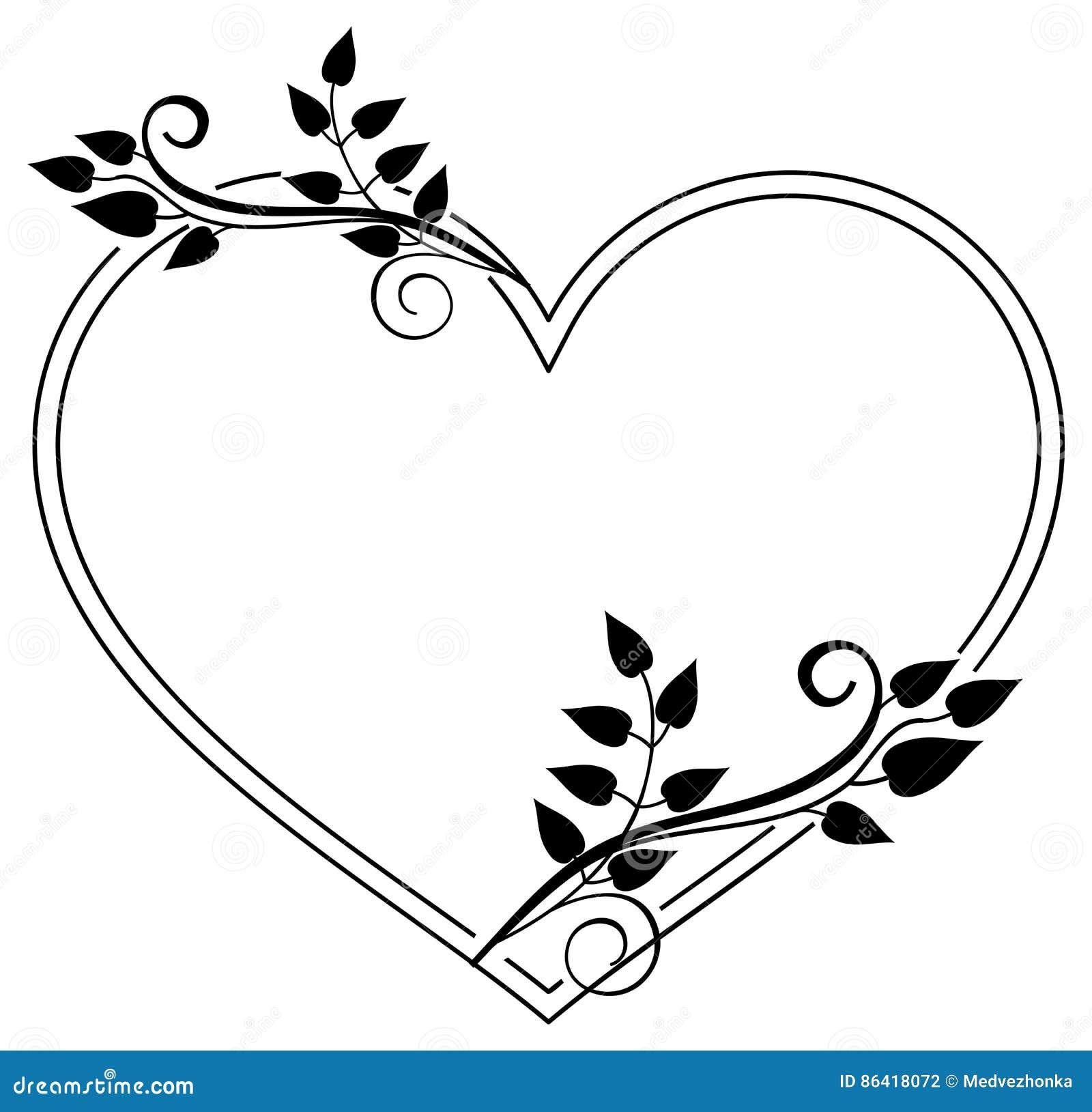 herz f rmiger schwarzweiss rahmen mit blumenschattenbildern rast stock abbildung illustration. Black Bedroom Furniture Sets. Home Design Ideas