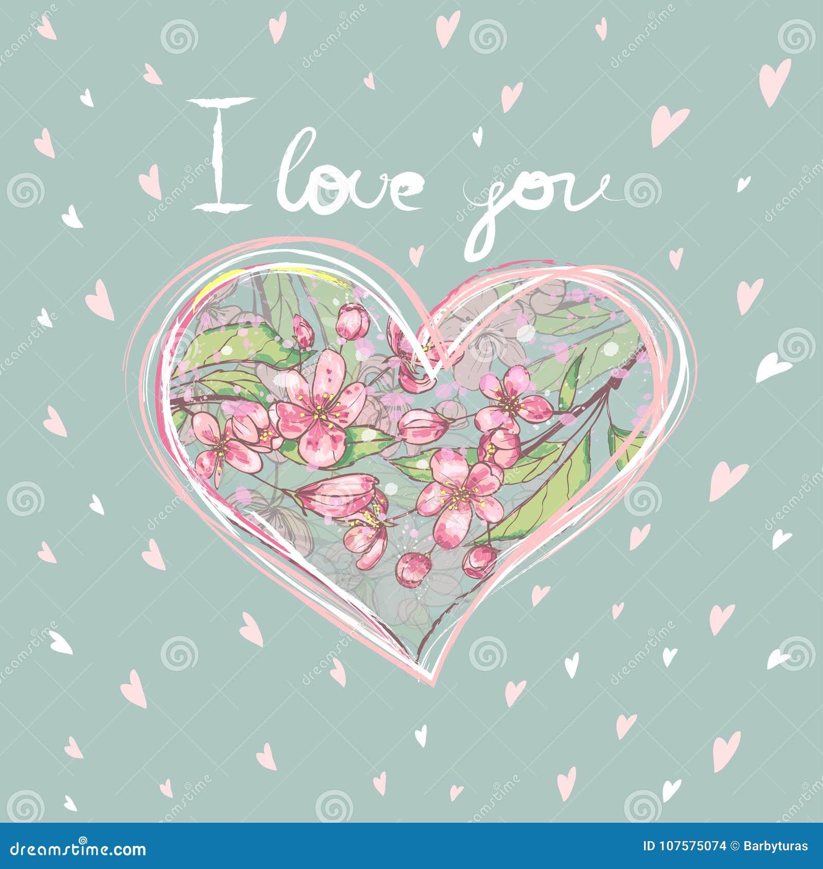 Herz formte den Rahmen, der ich liebe dich von den Blumen auf einem gestreiften Hintergrund mit Text ` ` nach innen gemacht wurde