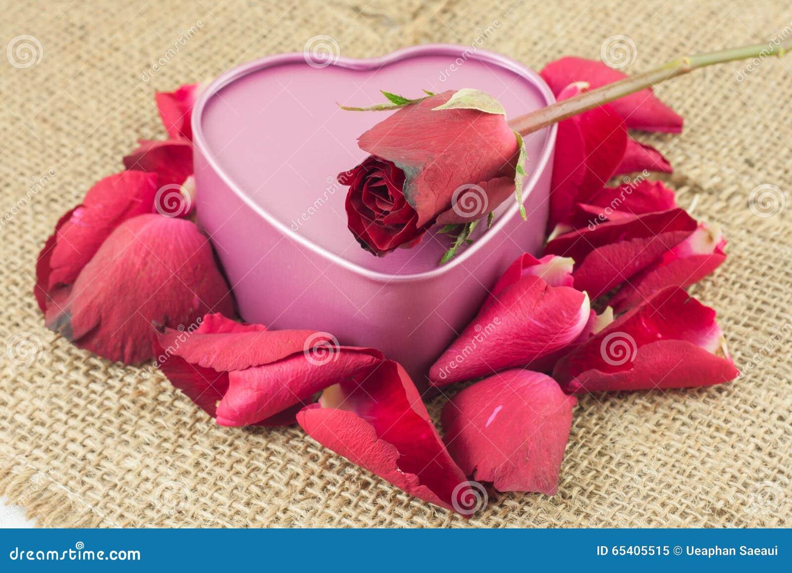 herz geformter metallkasten mit einer roten rose wird auf