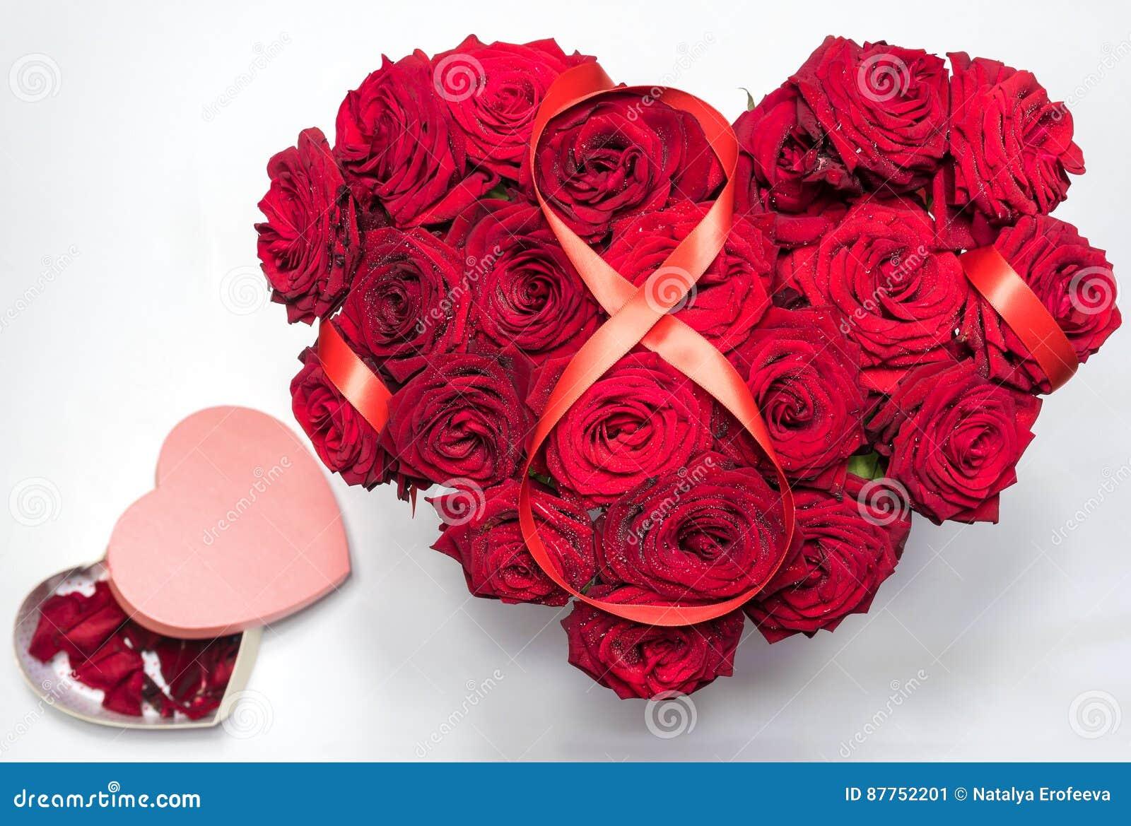 Herz Machte Rote Rosen Blumenstrauss Den Roter Bandabbildung 8 Herz