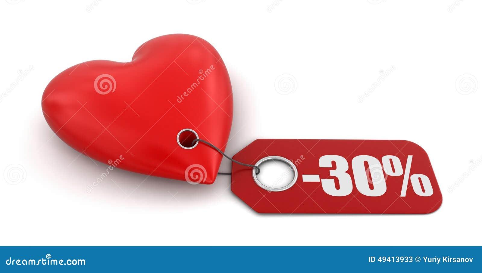 Download Herz Mit Aufkleber -30% (Beschneidungspfad Eingeschlossen) Stock Abbildung - Illustration von waren, liebe: 49413933