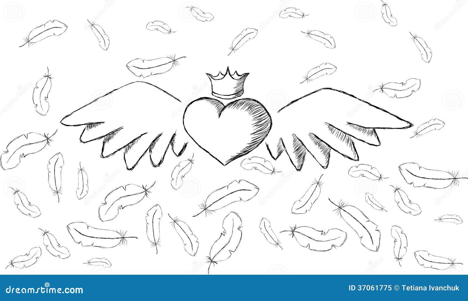 Herzen Mit Flügeln Schwarz Weiß