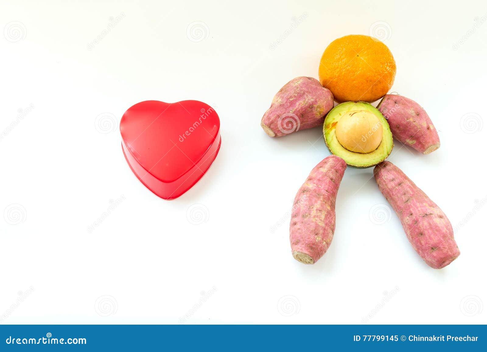 Herz Mit Hintergrund Von Obst Und Gemüse Von In Form Des ...