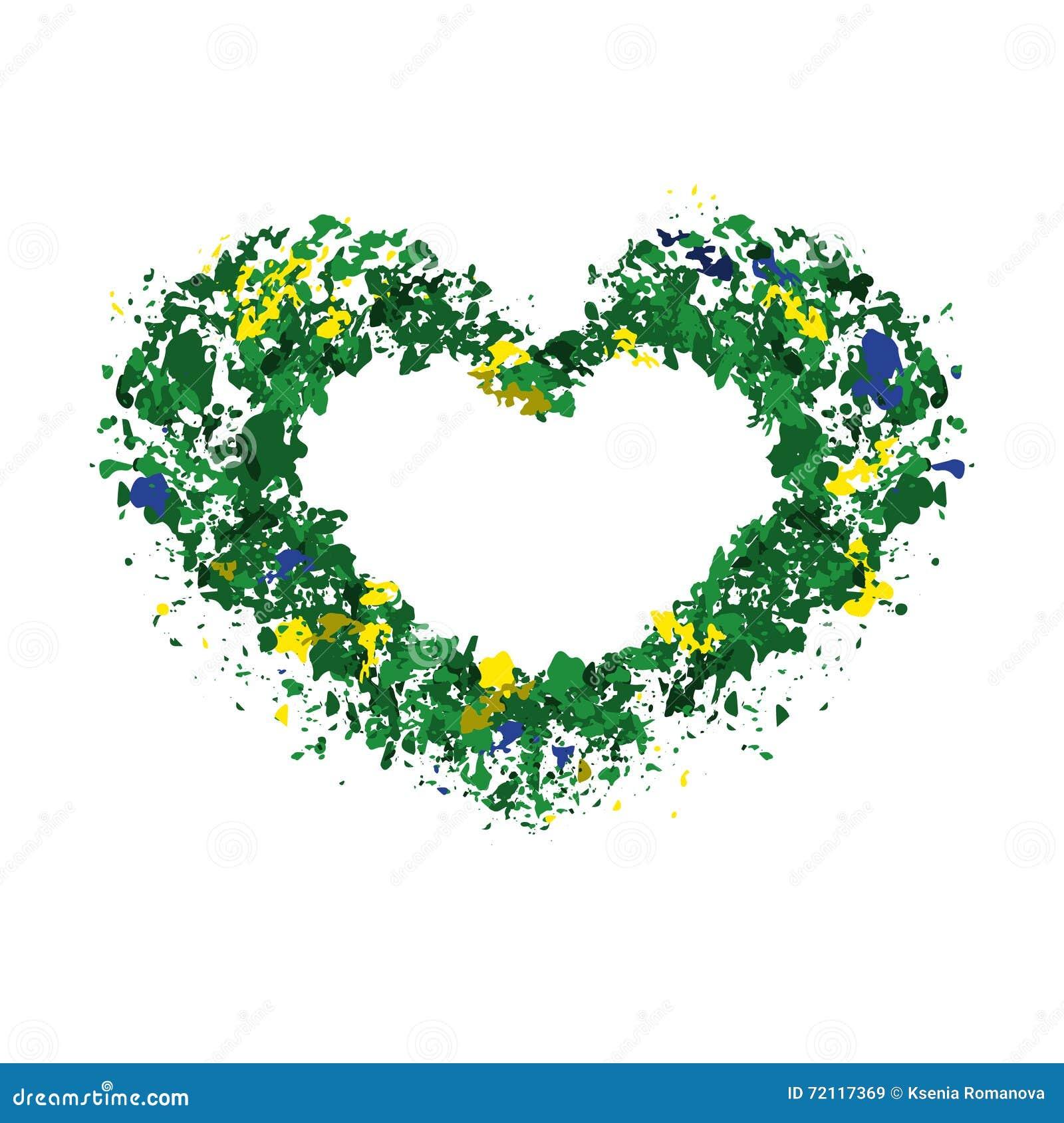 Herz, Rahmen Für Text, Ñ- Olors Der Brasilianischen Flagge Stock ...
