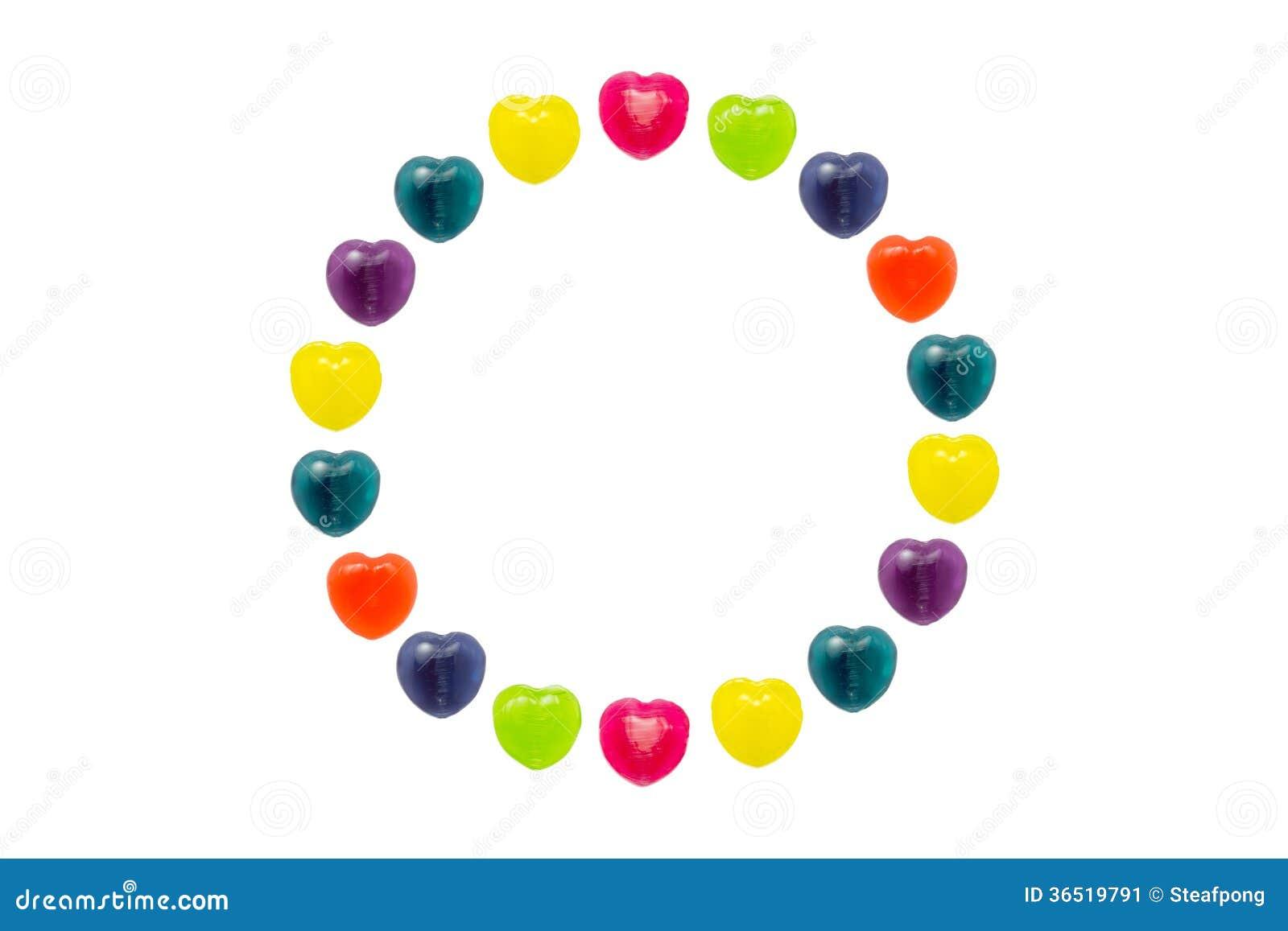 Herz-Süßigkeit eingestellt in Kreis-Form für Valentinsgruß