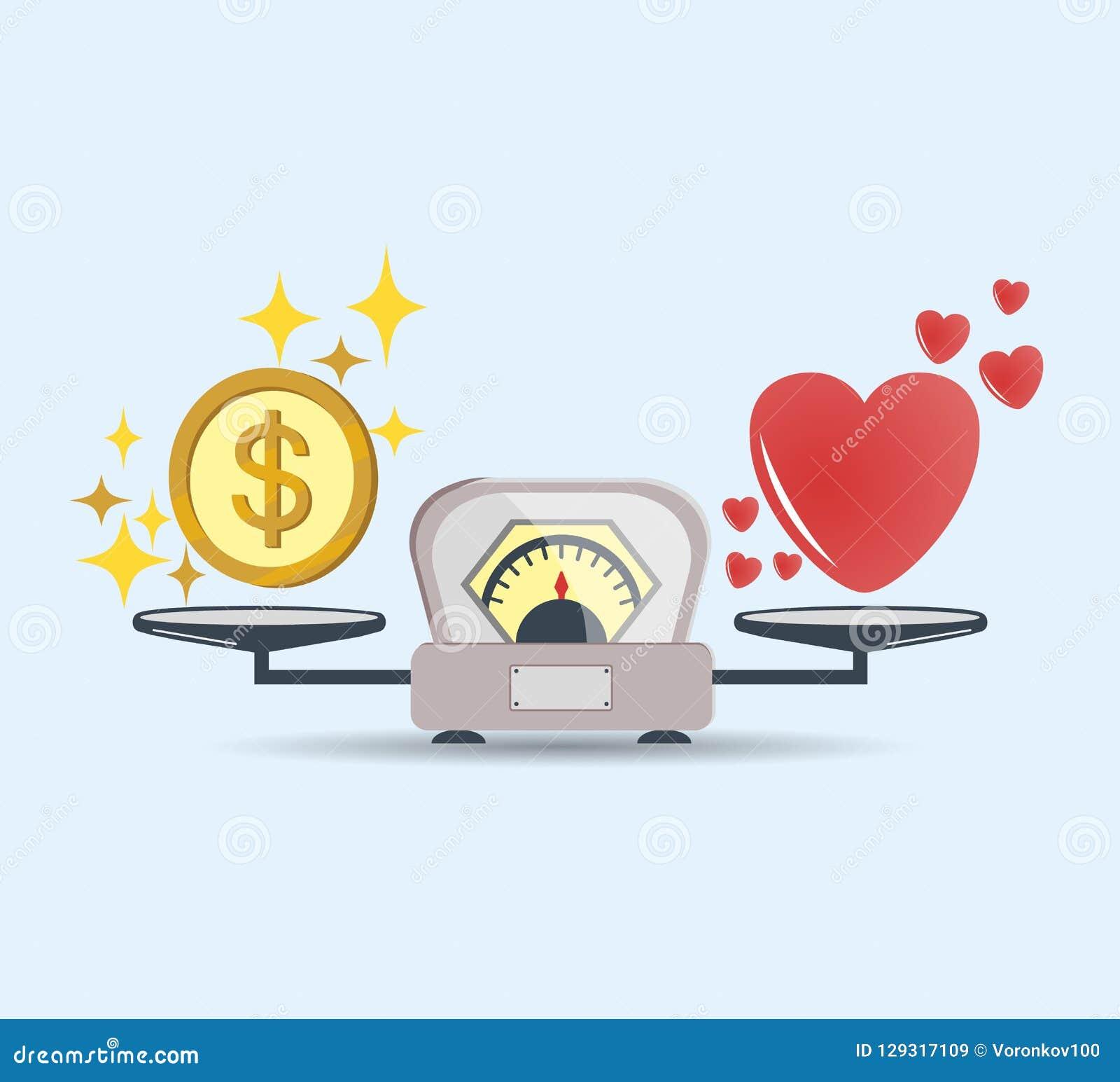 Herz und Geld für Skalaikone Balance des Geldes und der Liebe in der Skala Konzept der Wahl Skalen mit Liebe und Geldmünzen Vekto