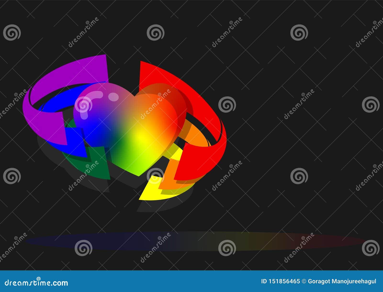 Herz versenkte durch sechs Farben vom Regenbogenflaggenhintergrund