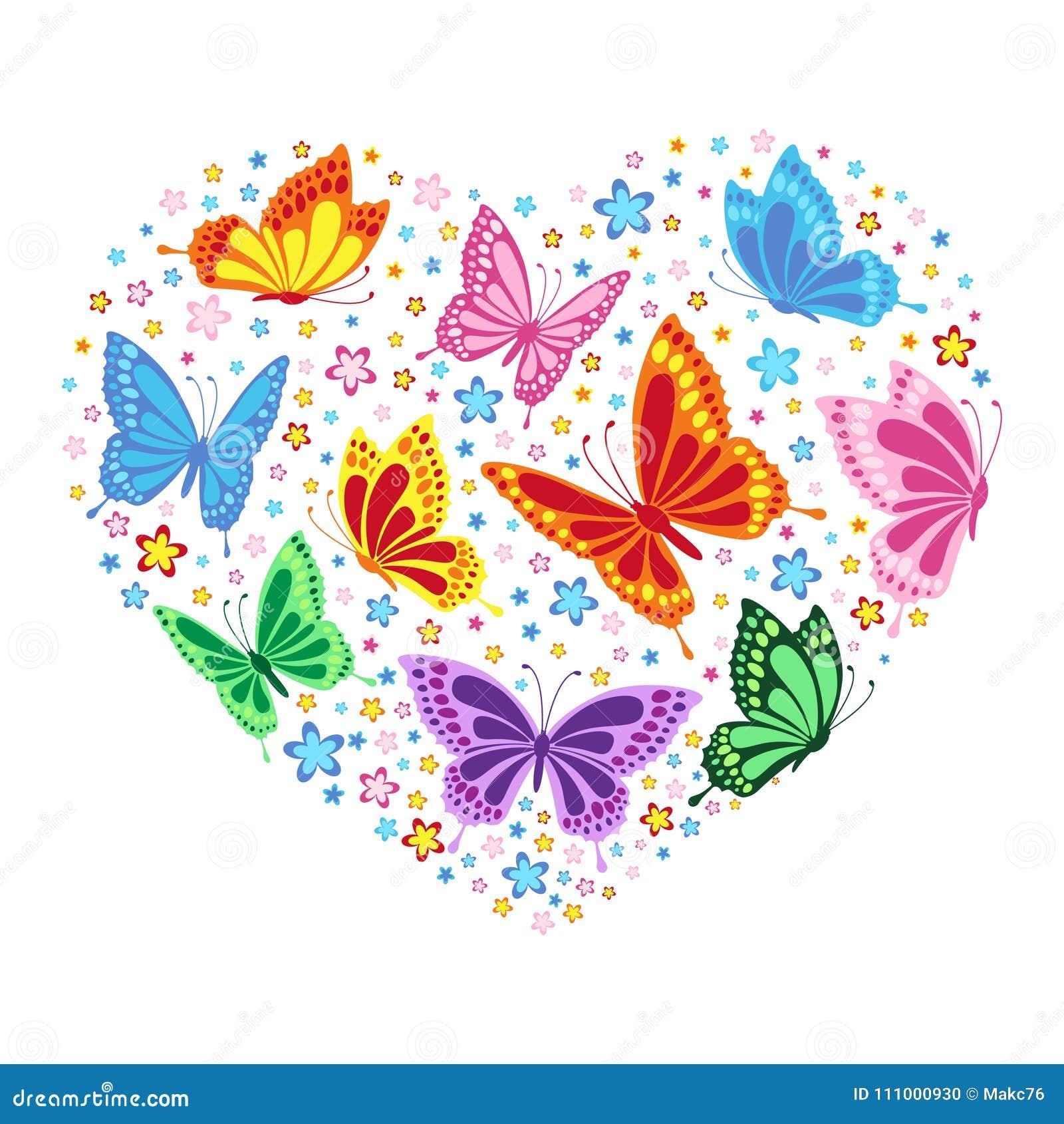 Herz Von Schmetterlingen Und Von Blumen Vektor Abbildung ...