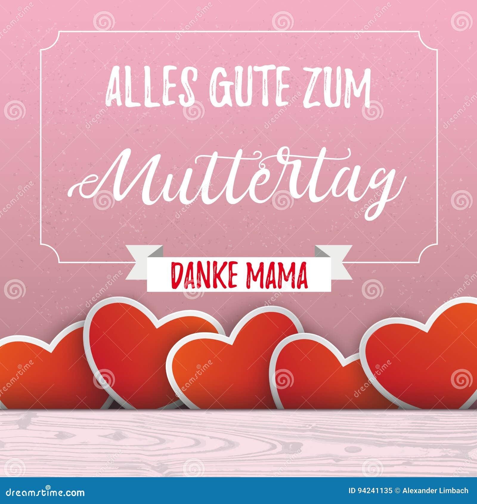 Herzen Muttertag-Rosa-Wand-Rahmen-Band Stock Abbildung ...