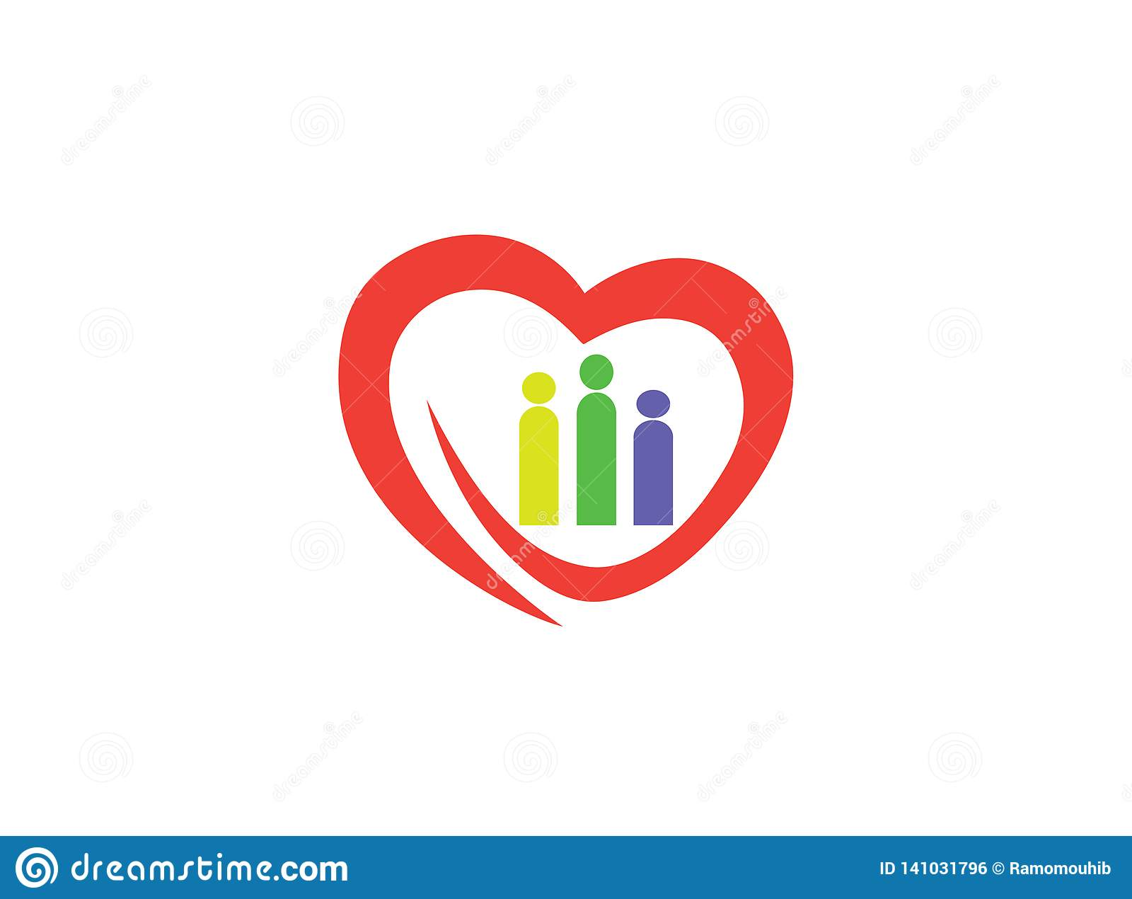 Herzfamilie, die Herz-und Familie-Logo sich interessiert