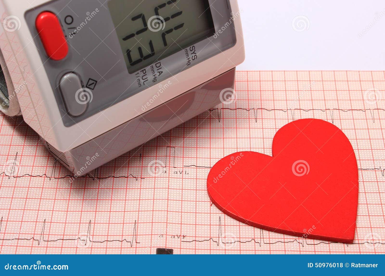 Herzform- und Blutdruckmonitor auf Elektrokardiogramm