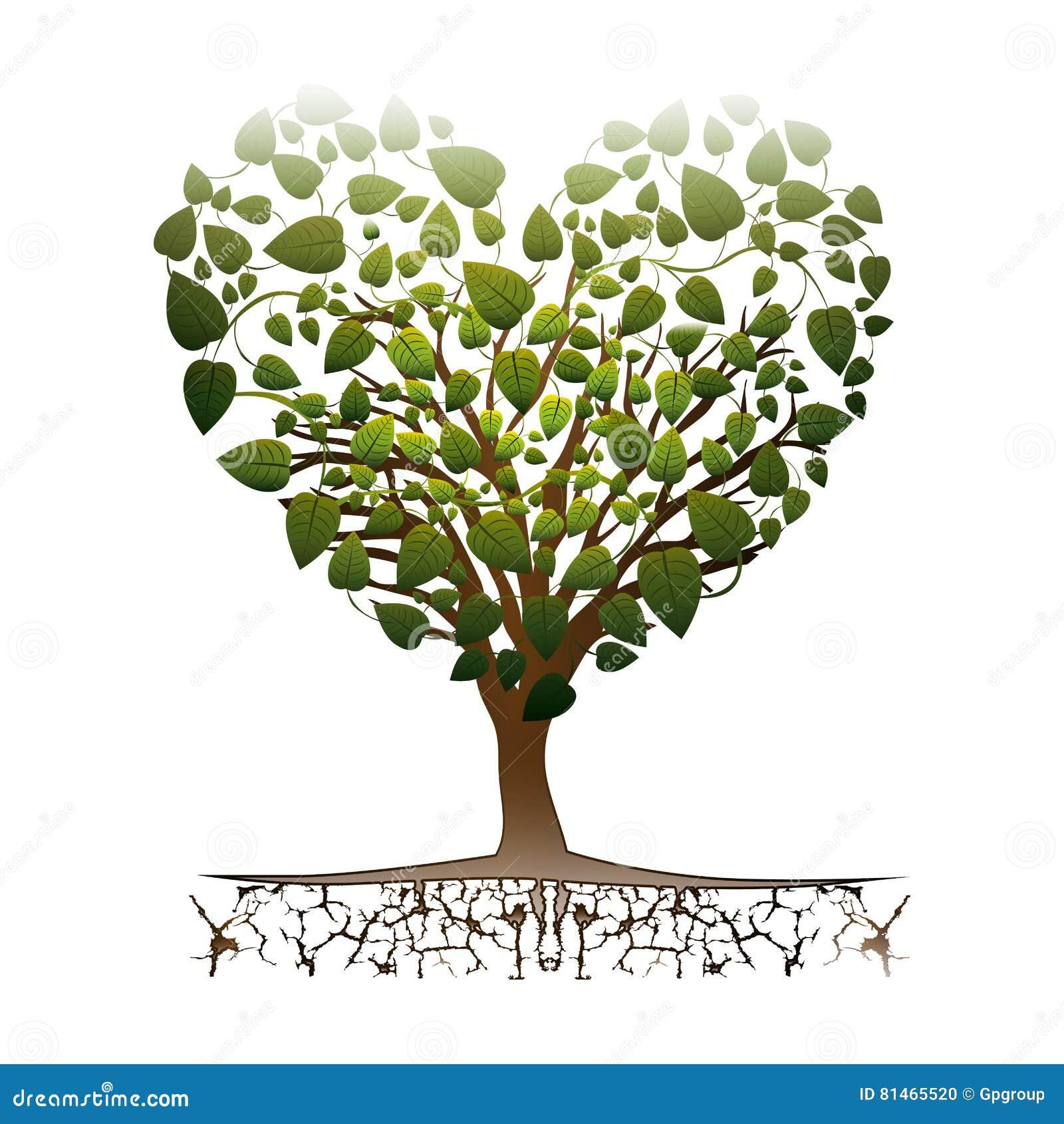 Herzformbaum mit bunten belaubten Niederlassungen