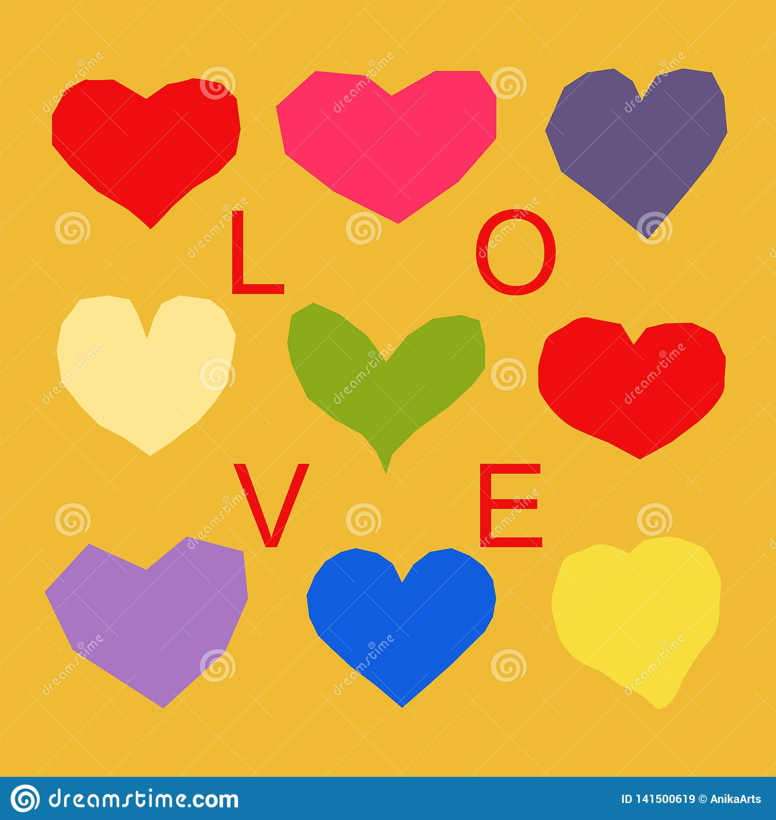 Herzmuster mit Liebeswort