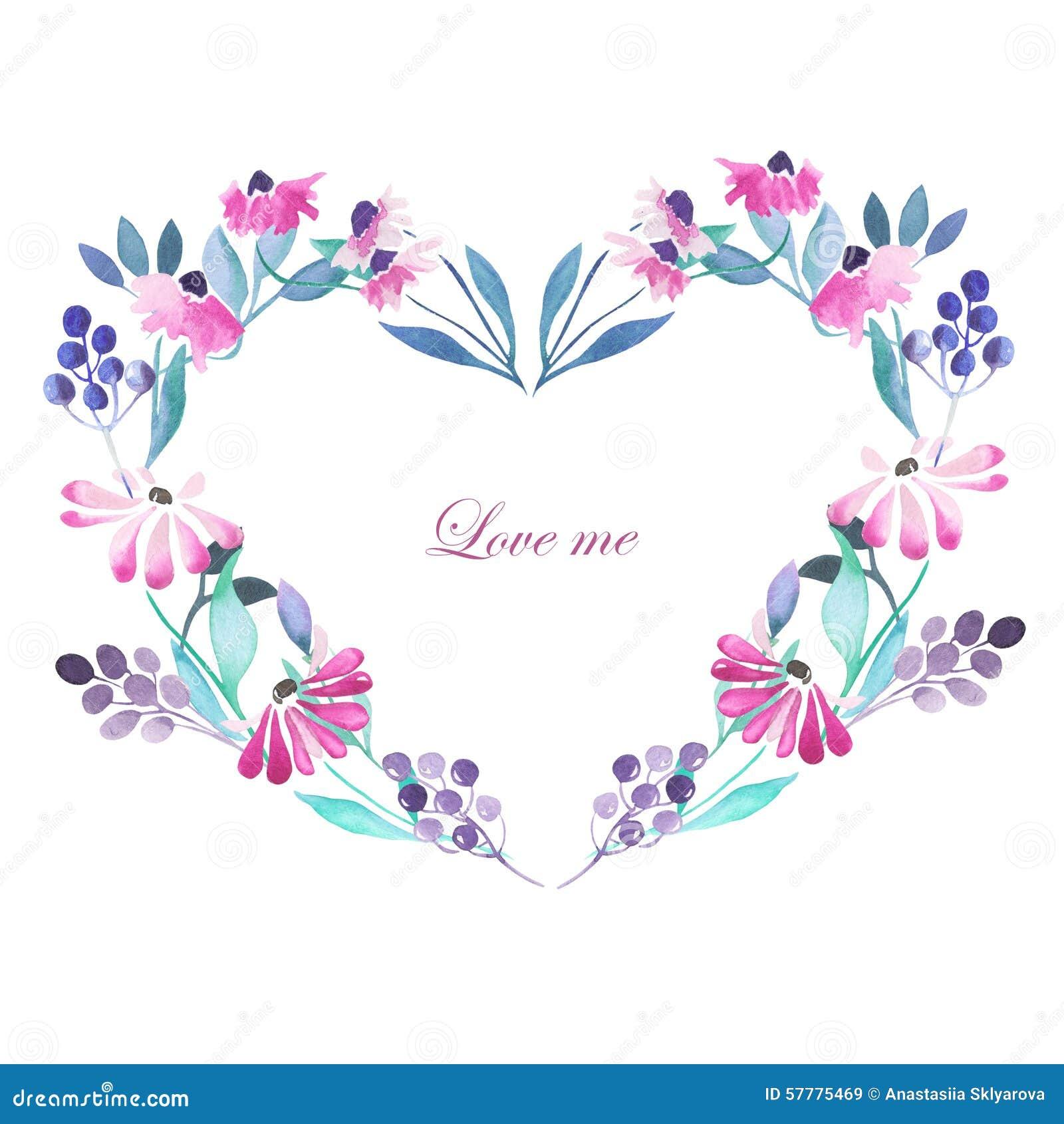 Herzrahmen, Kranz Von Purpurroten Blumen Stock Abbildung ...