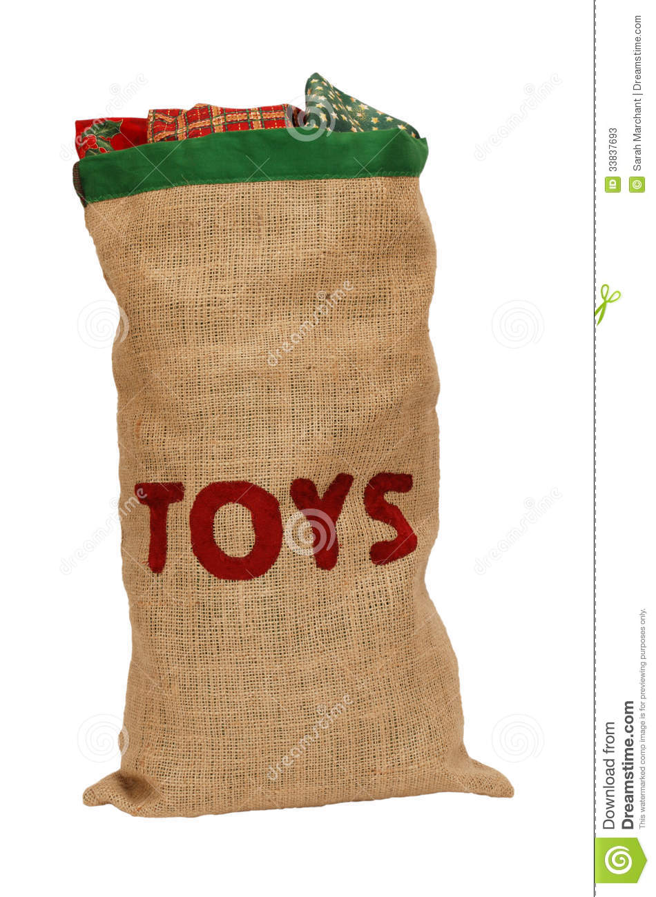 Sack Of Toys For Christmas : Hessian toy sack stuffed full with christmas presents