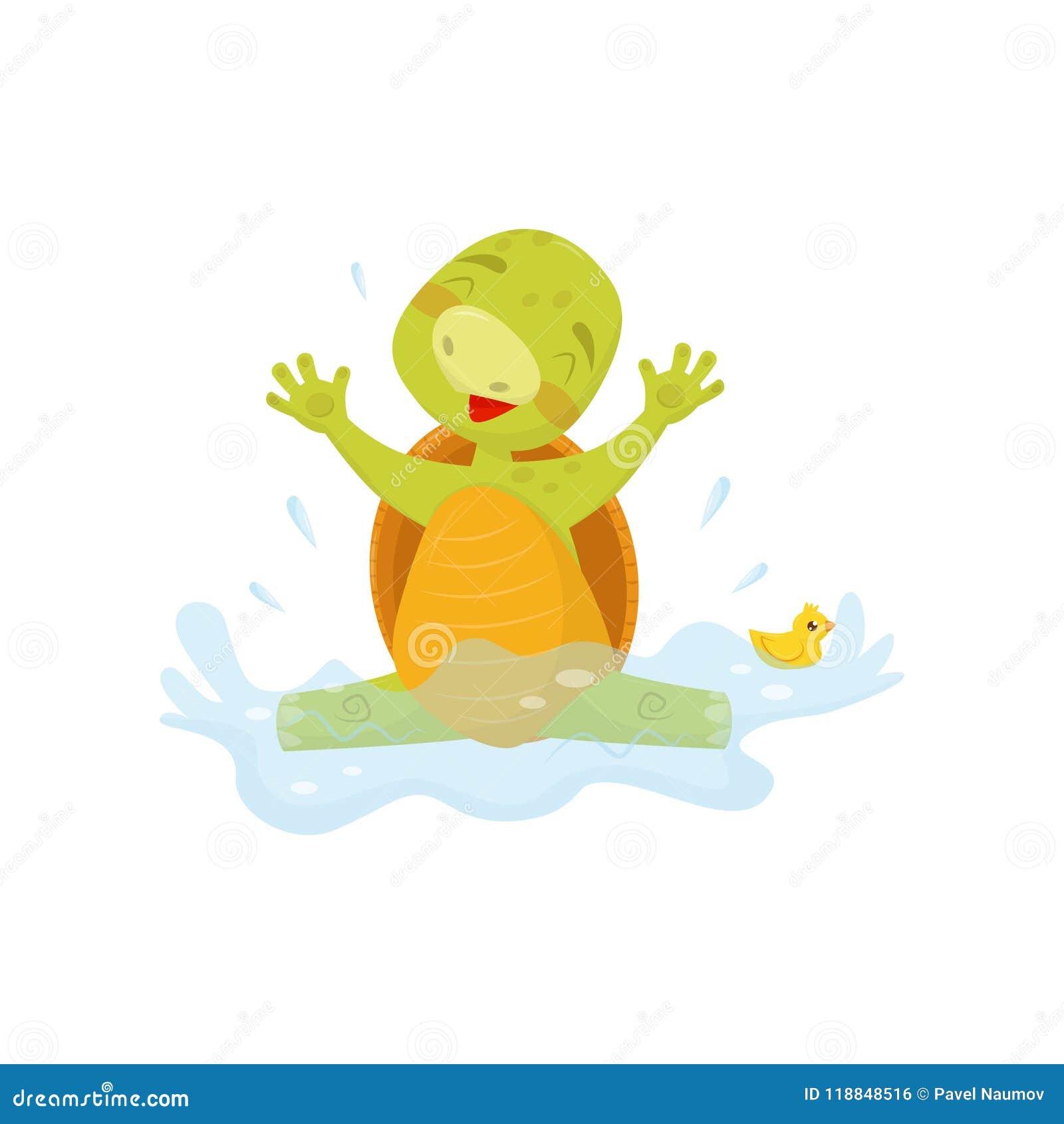 Het aanbiddelijke zeeschildpad bespatten in water met rubbereend Groen reptiel met bruine shell Vlakke vector voor sticker, affic