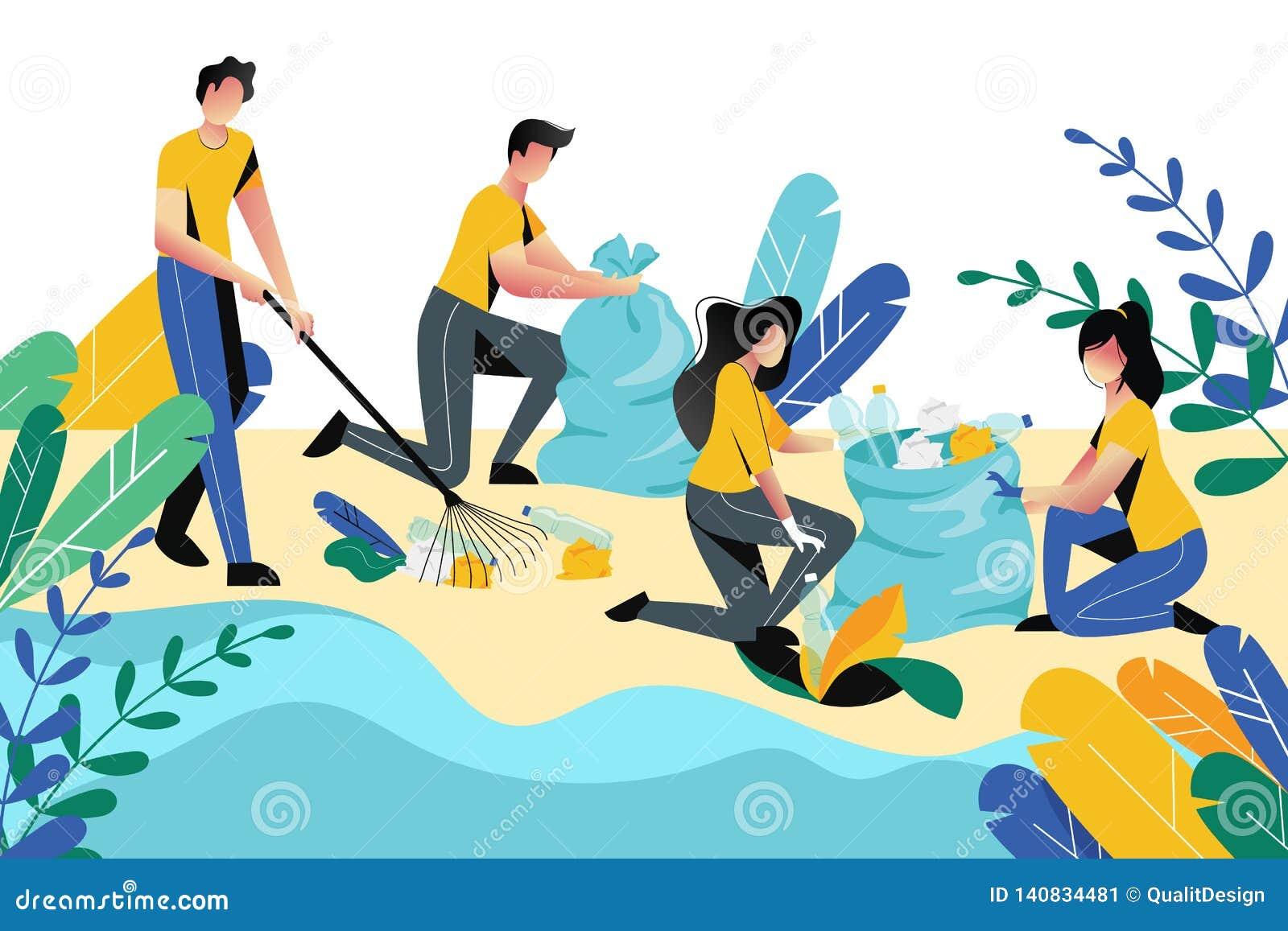 Het aanmelden zich, liefdadigheids sociaal concept Vrijwilligersmensen die huisvuil op strandgebied of stadspark schoonmaken, vec