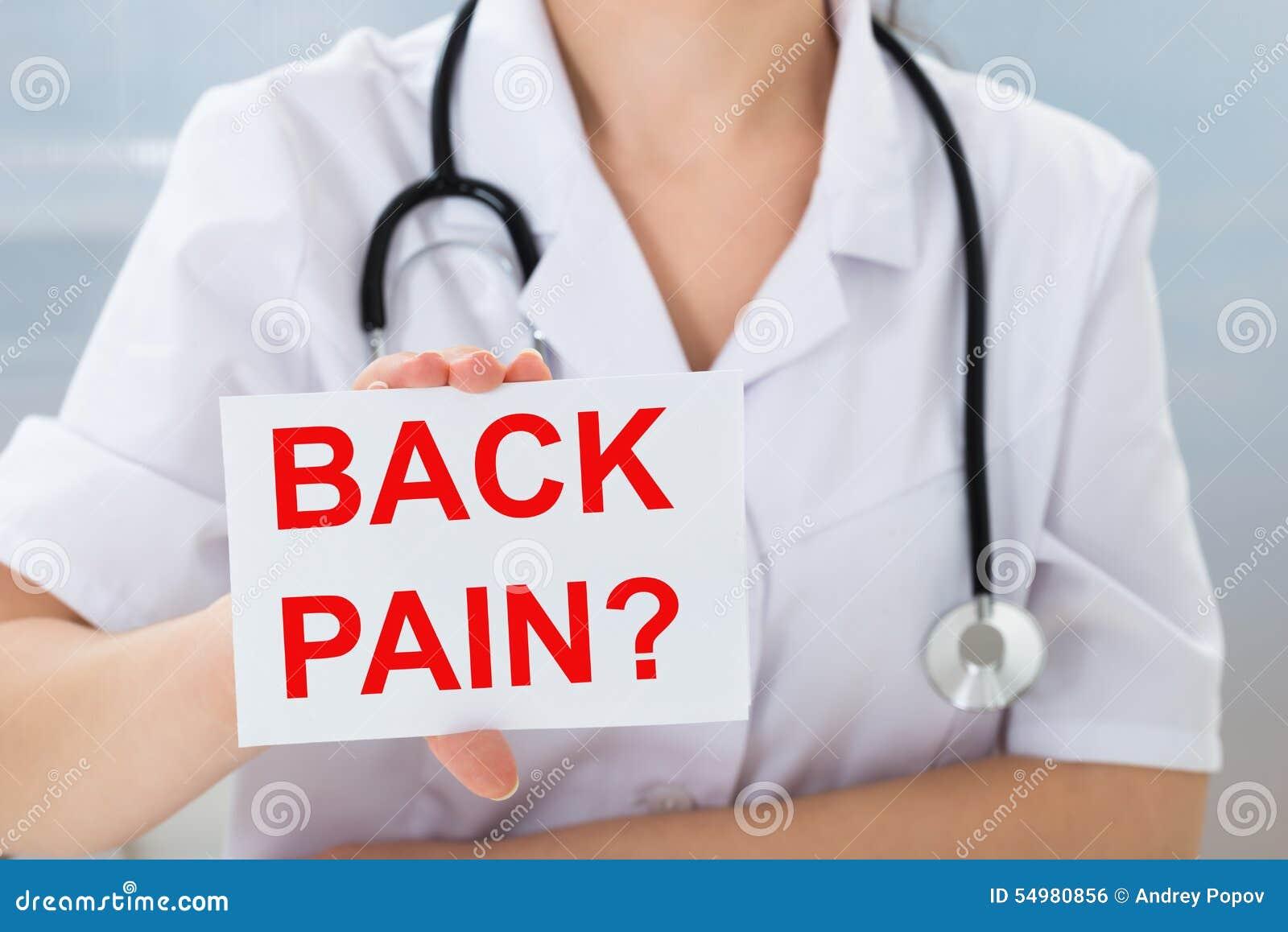 Het aanplakbiljet van de artsenholding met rugpijntekst