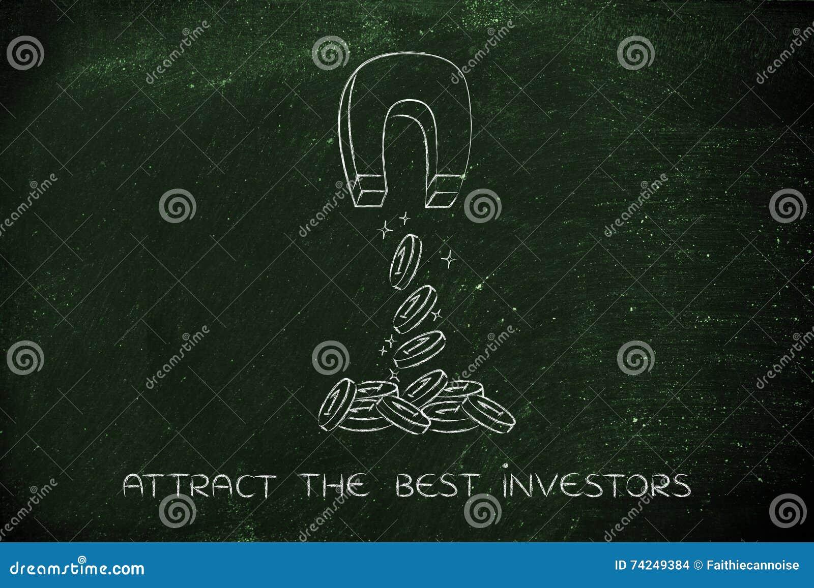 Het aantrekken van muntstukken met magneet, investeringsconcept