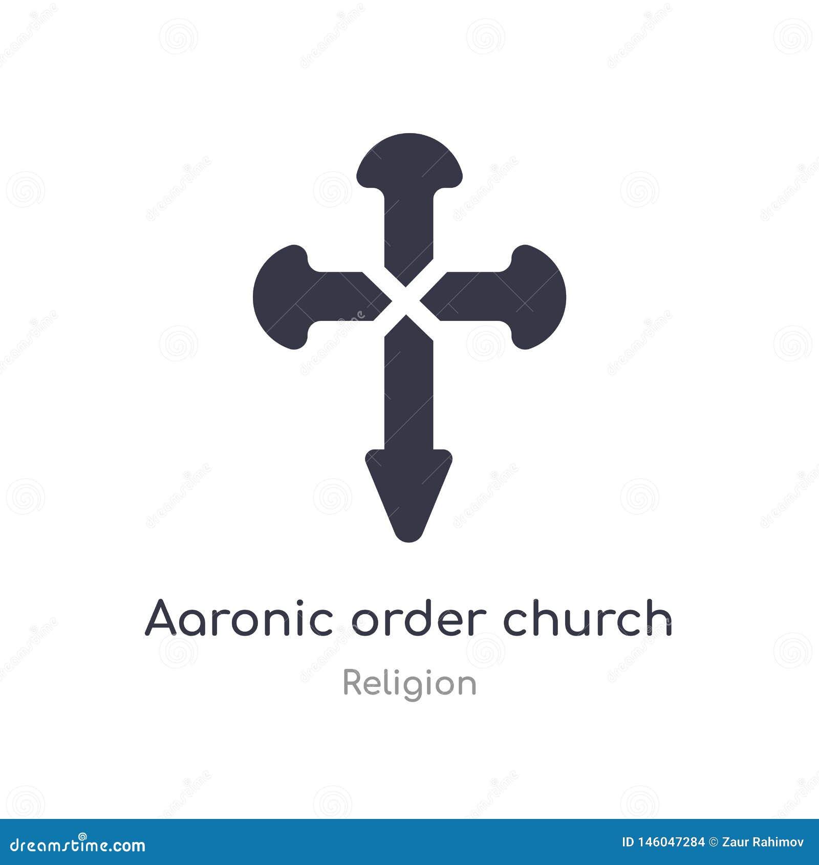 Het aaronic pictogram van de ordekerk geïsoleerde aaronic het pictogram vectorillustratie van de ordekerk van godsdienstinzamelin