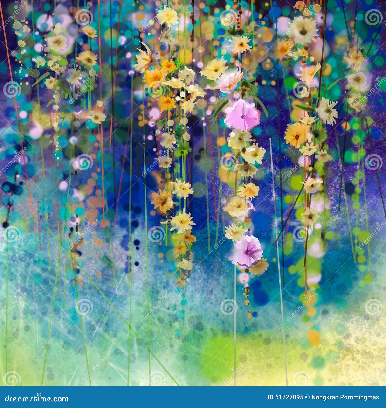 Het abstracte bloemenwaterverf schilderen Seizoengebonden de aardachtergrond van de de lentebloem