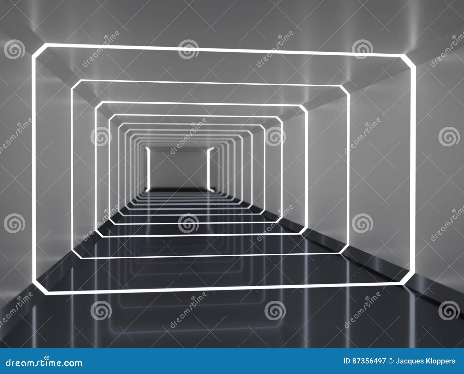 Het abstracte 3d teruggeven van ruimteschipgang
