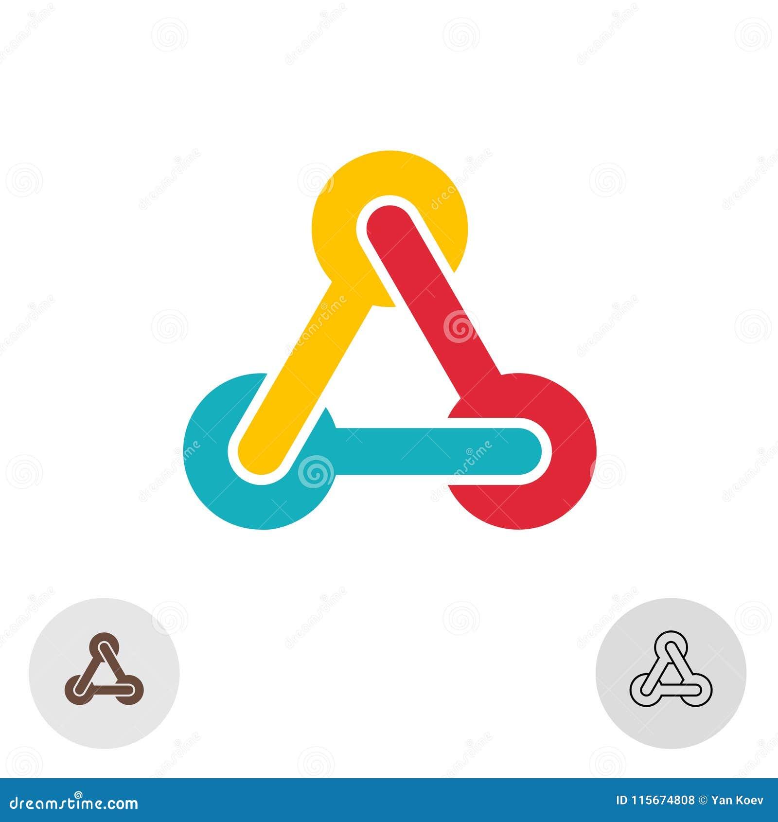 Het abstracte embleem van de driehoekskleur met technologie-verbindingen