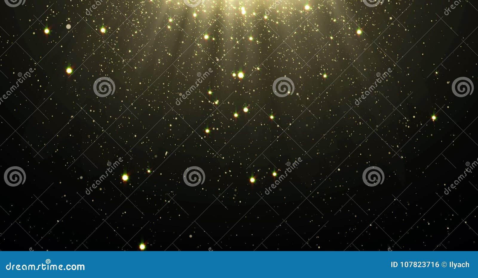 Het abstracte goud schittert deeltjesachtergrond met glanzende sterren die neer en licht gloed of glansbekledingseffect hierboven