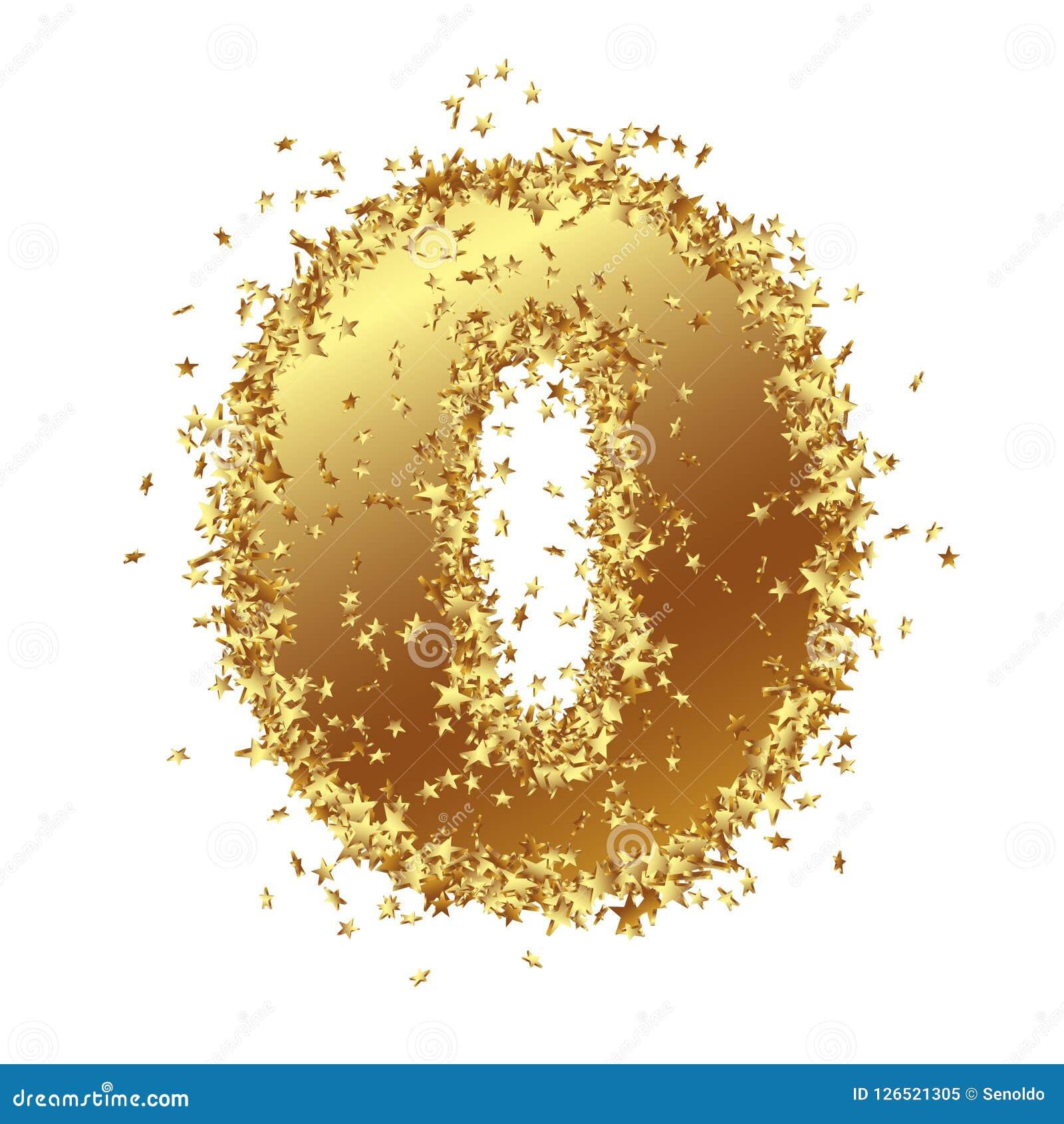Het abstracte Gouden Aantal met Filmsterretjegrens - Nul - verklaart - 0 nietig