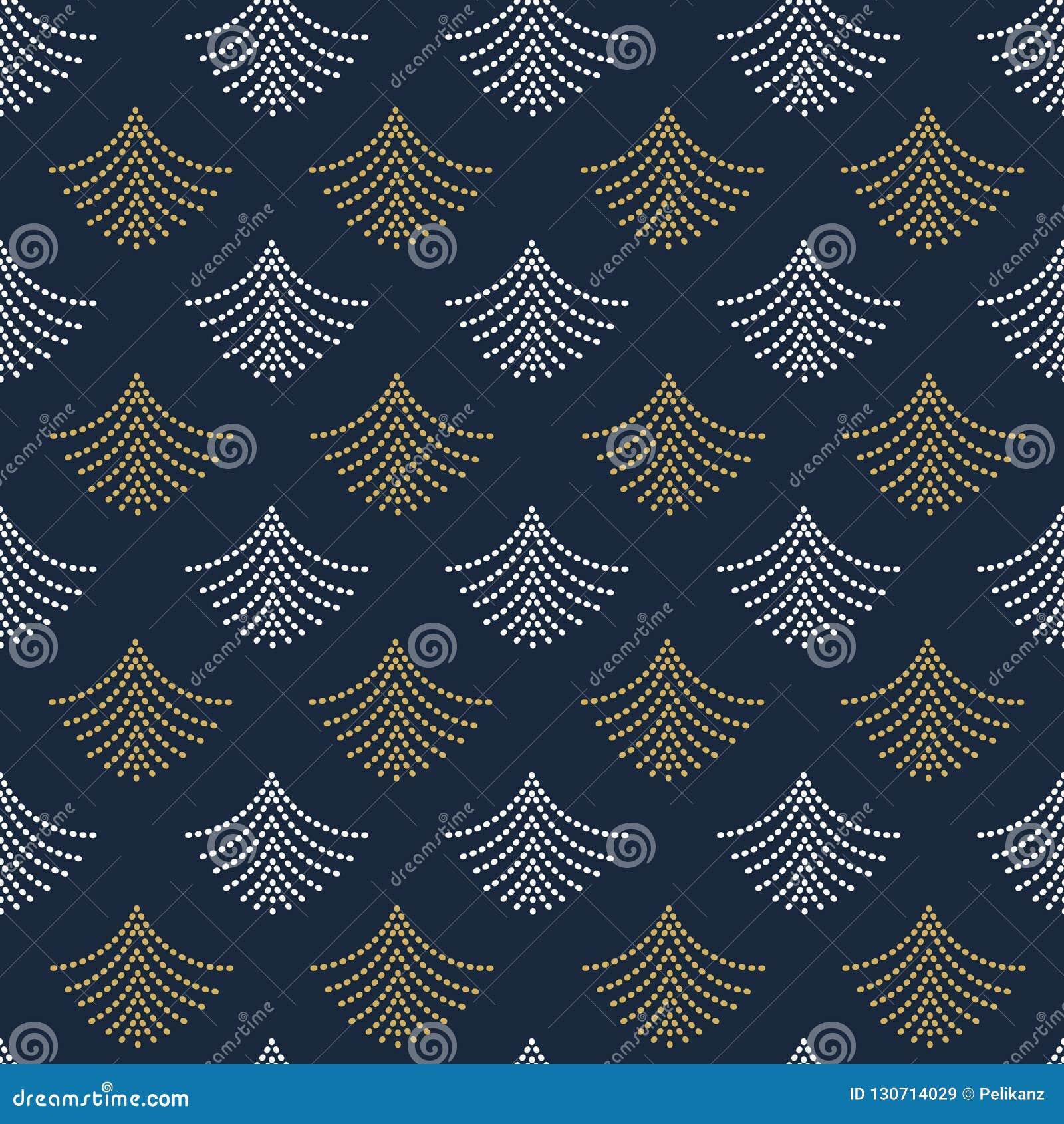Het abstracte in gouden en witte geometrische gestippelde patroon van de ventilatorsvorm
