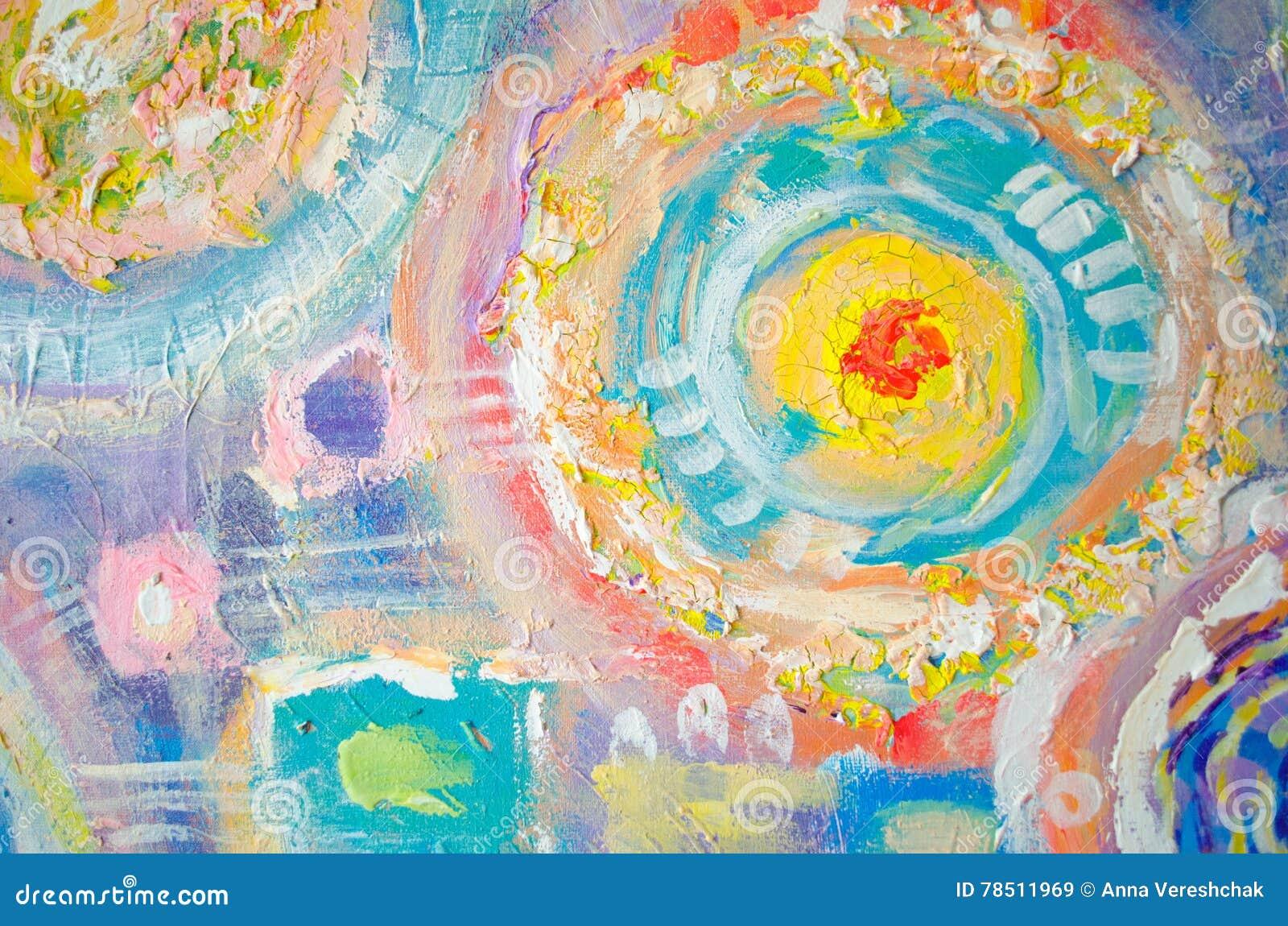 Het abstracte kleurrijke acryl schilderen canvas Kan als prentbriefkaar worden gebruikt De textuureenheden van de borstelslag Art