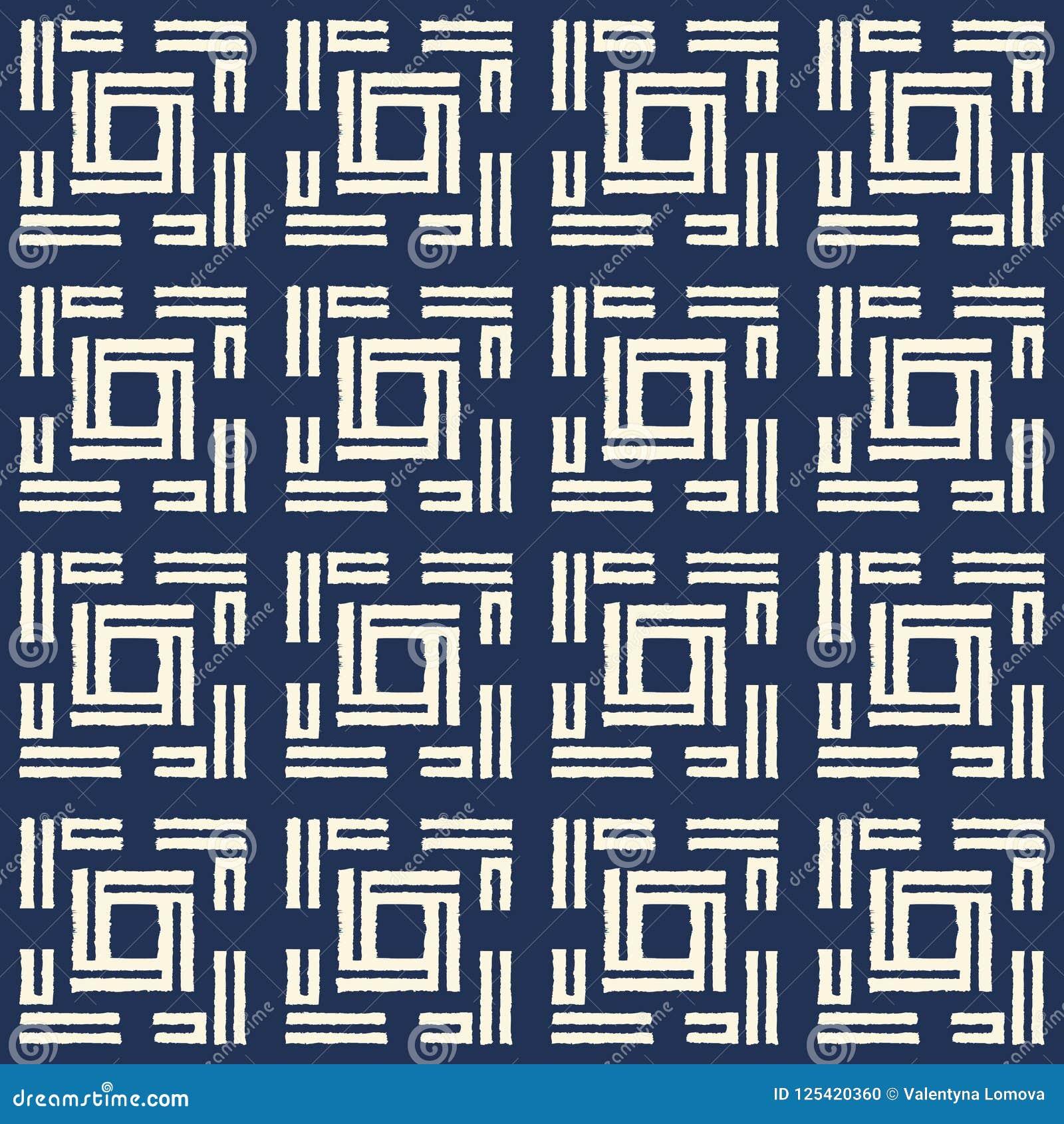 Het abstracte naadloze patroon van indigoshibori met ikatdruk van mozaïek