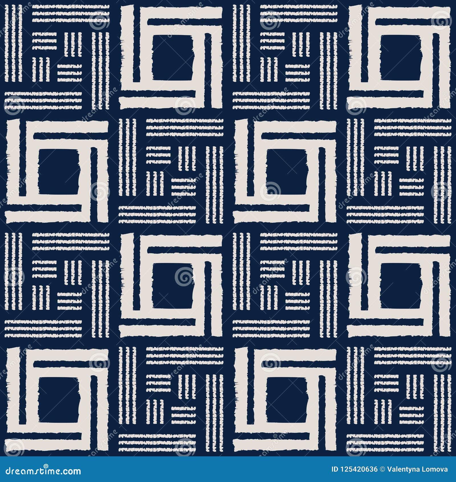 Het abstracte naadloze vectorpatroon van indigoshibori met ikatdruk van mozaïek