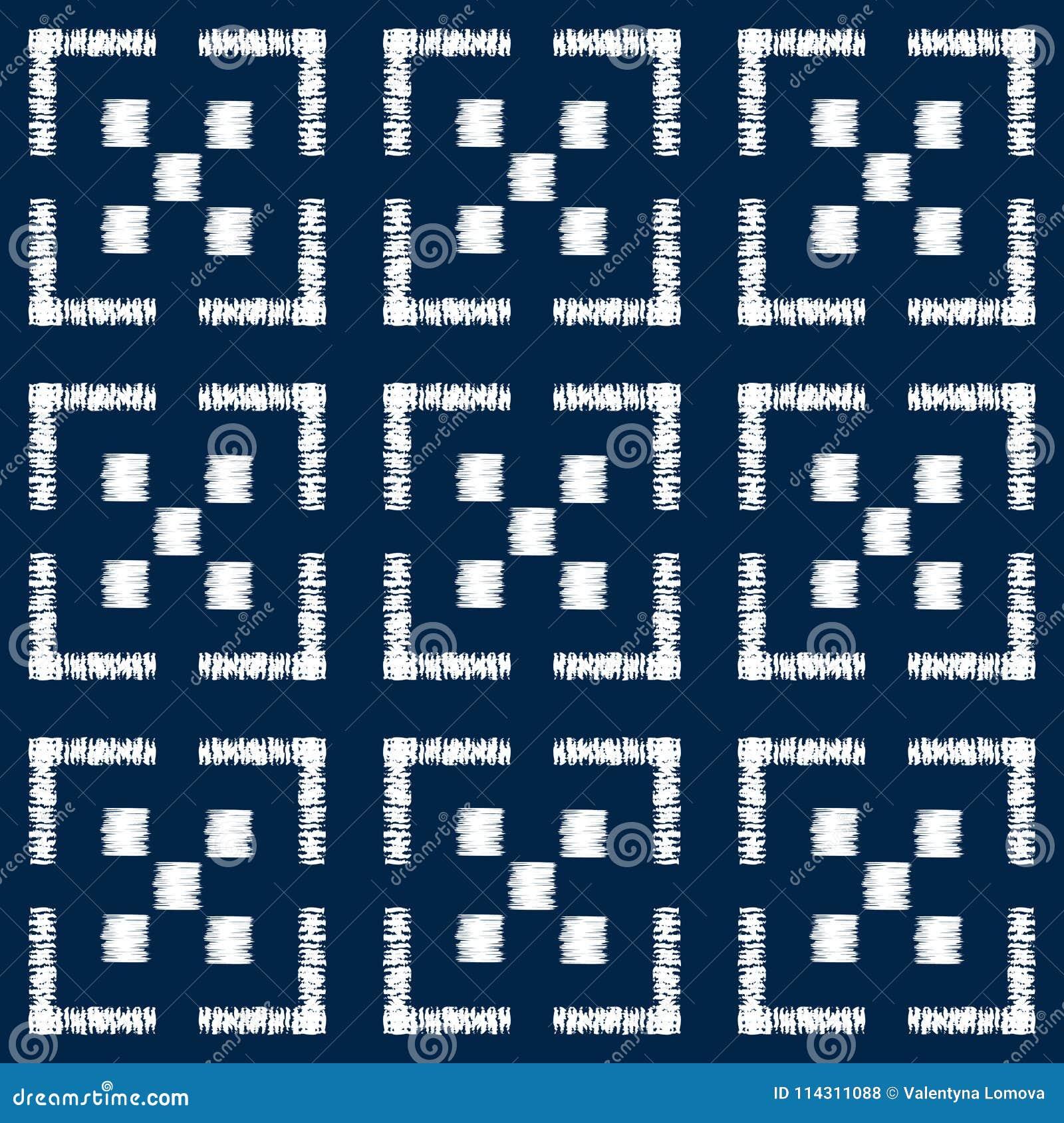 Het abstracte naadloze vectorpatroon van indigoshibori met mozaïek