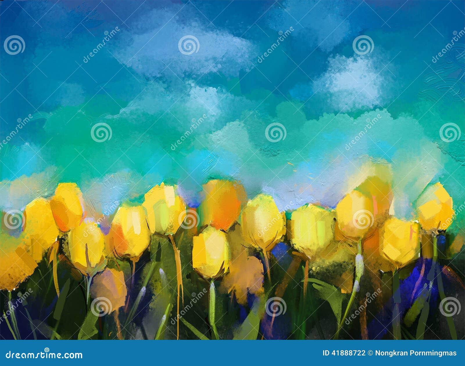Het abstracte olieverfschilderij van tulpenbloemen