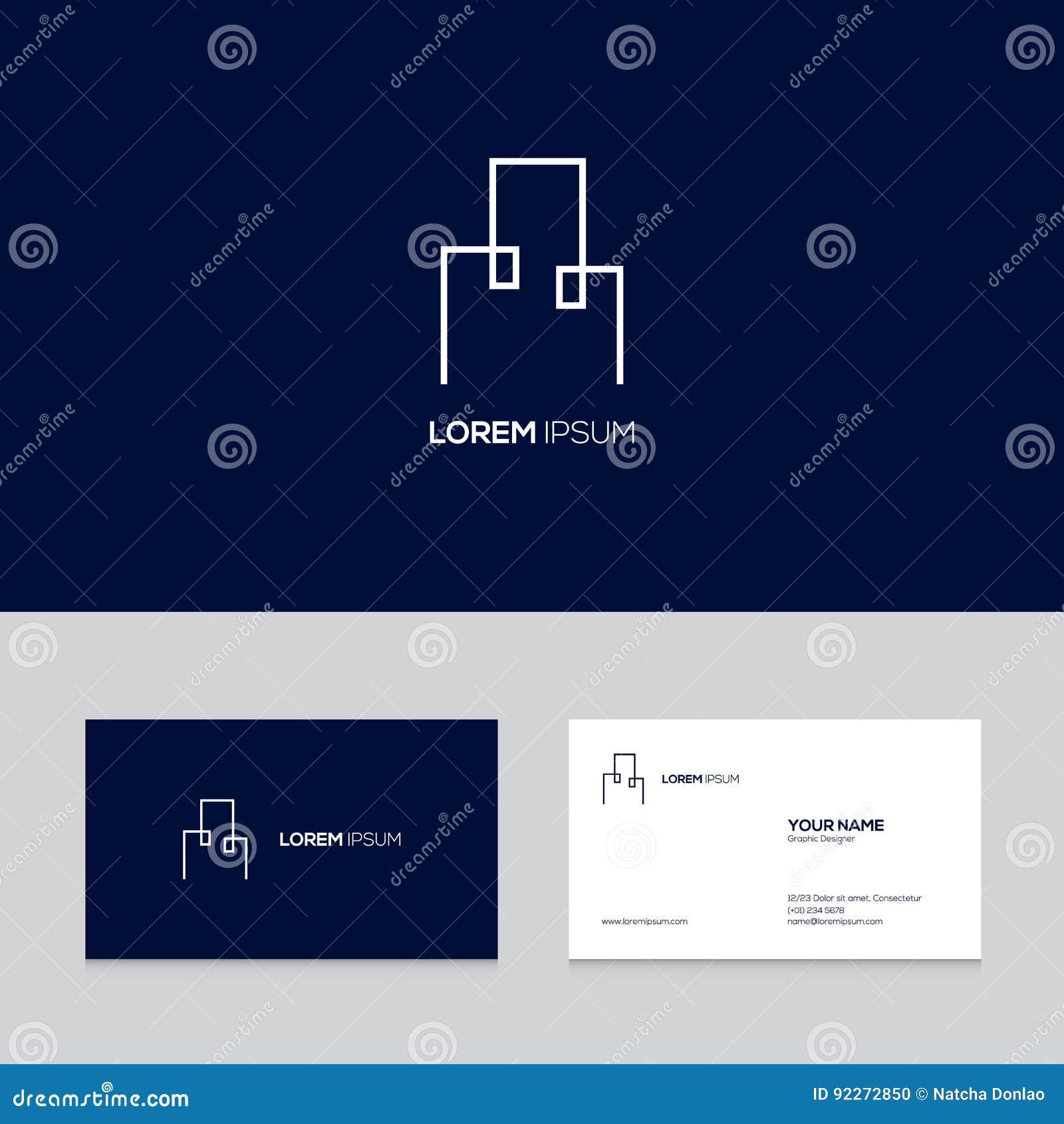 Het abstracte ontwerp van het onroerende goederenembleem op adreskaartjemalplaatje