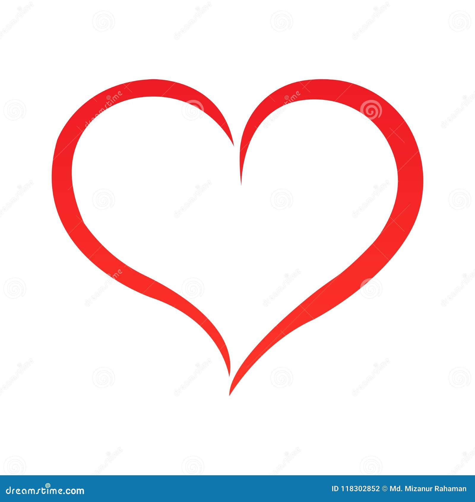 Het abstracte overzicht van de hartvorm Vector illustratie Rood hartpictogram in vlakke stijl Het hart als symbool van liefde