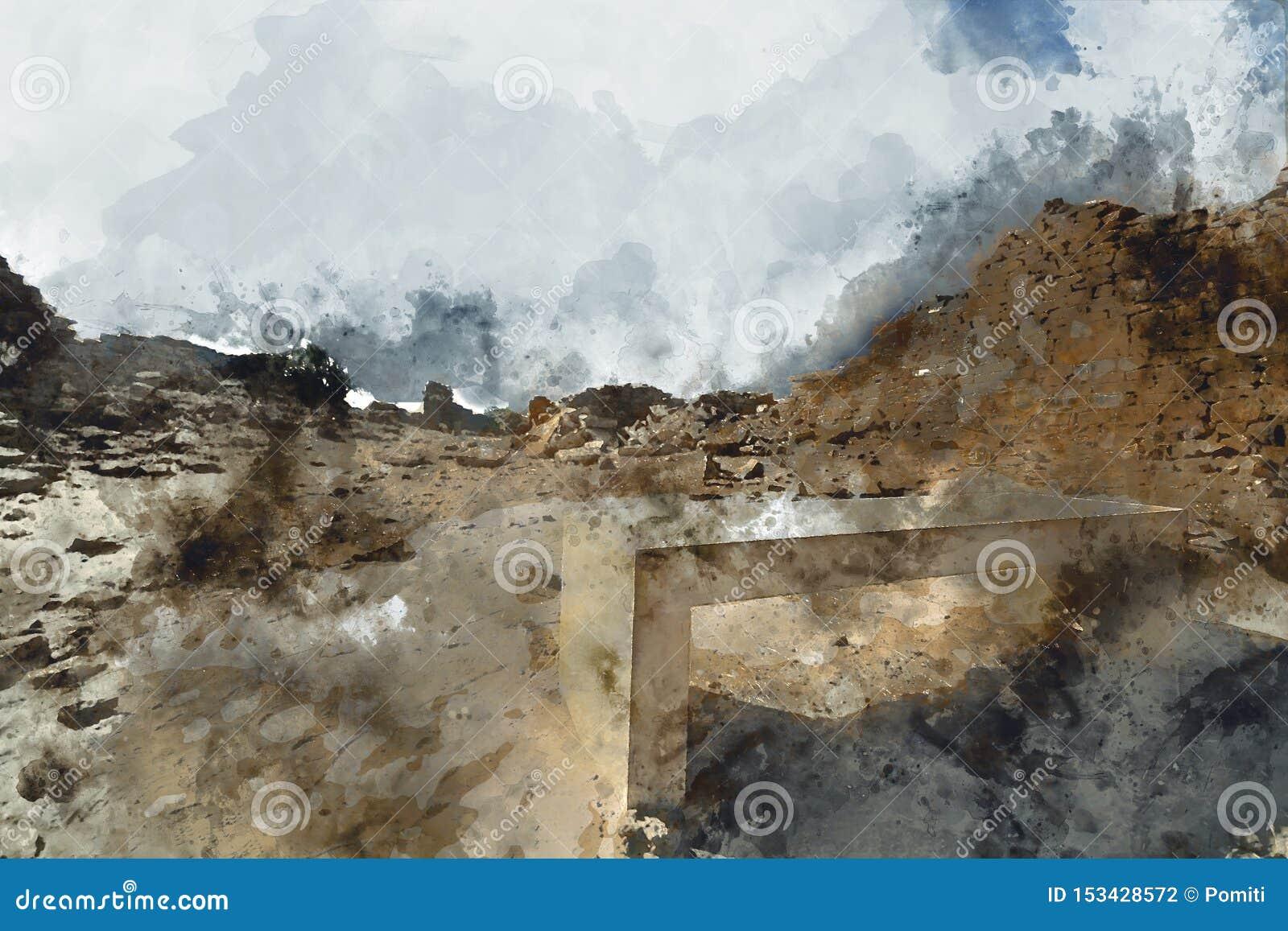 Het abstracte schilderen van oude stad in uitstekende toon
