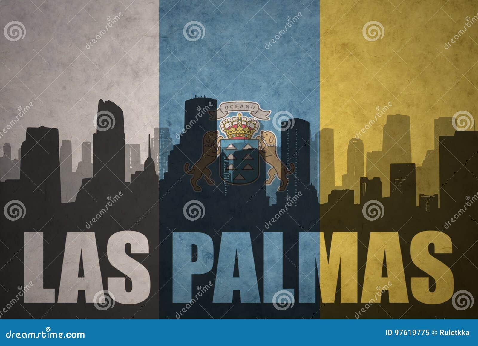 Het abstracte silhouet van de stad met tekstlas palmas bij de uitstekende Canarische Eilanden markeert