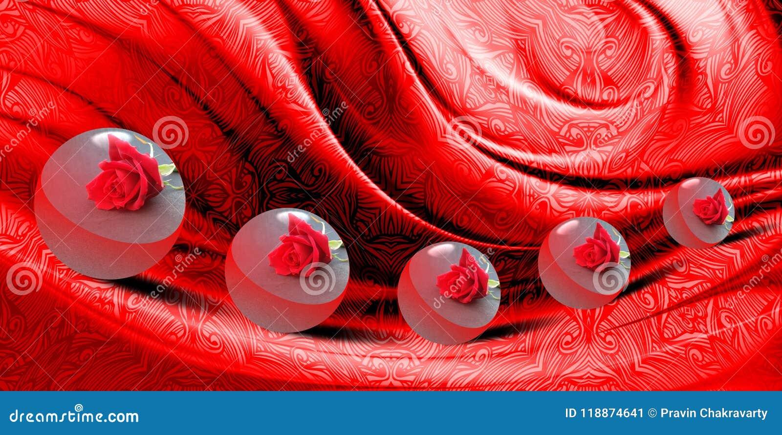 Het abstracte vectorrood stelde golvende geweven achtergrond met bewegingen van 3 D bol met textuur, vectorillustratie in de scha