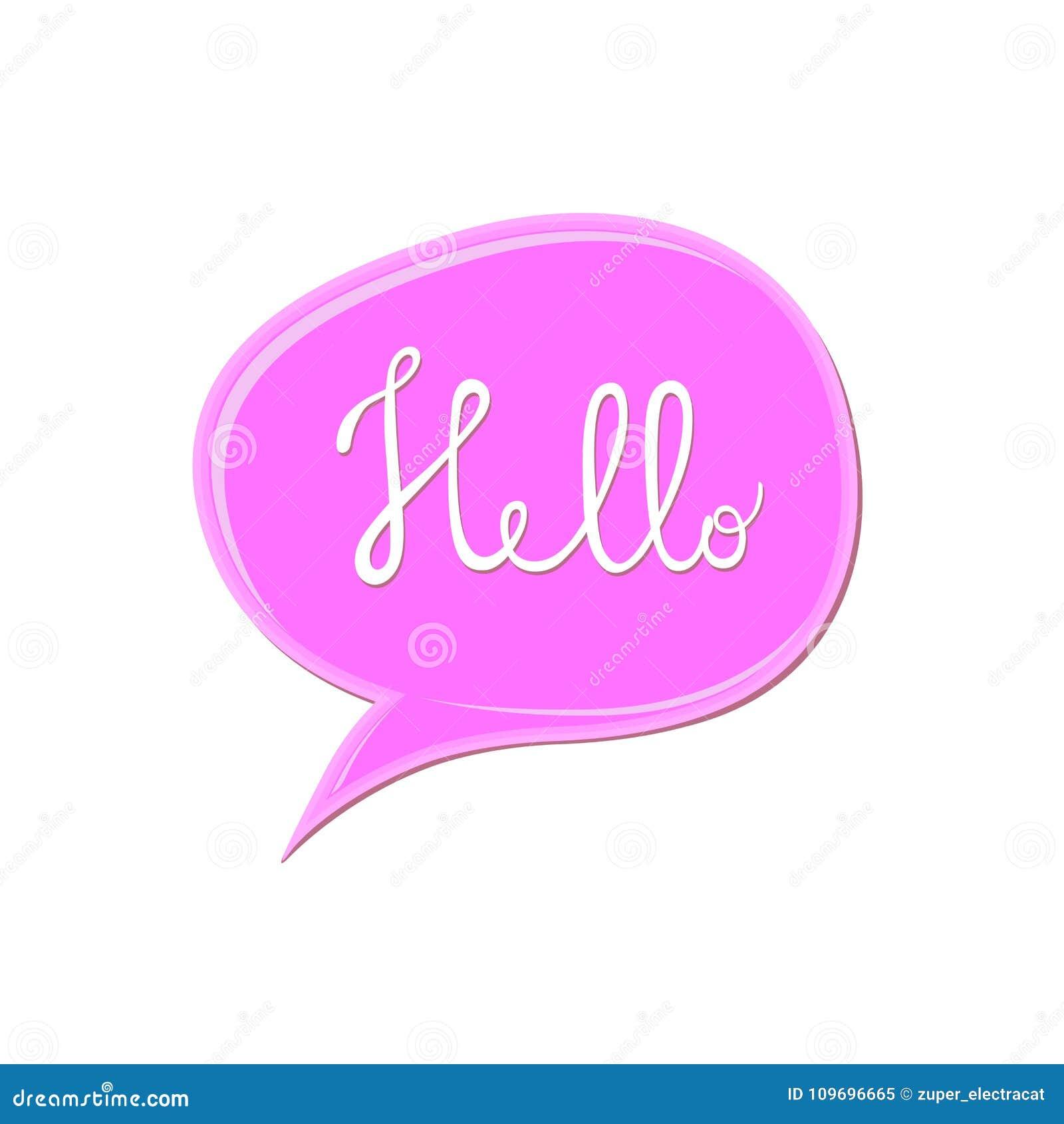 Het abstracte witte teken van ` Hello ` over het roze pictogram van de toespraakbel Kauwgomvlek op witte achtergrond De daling va