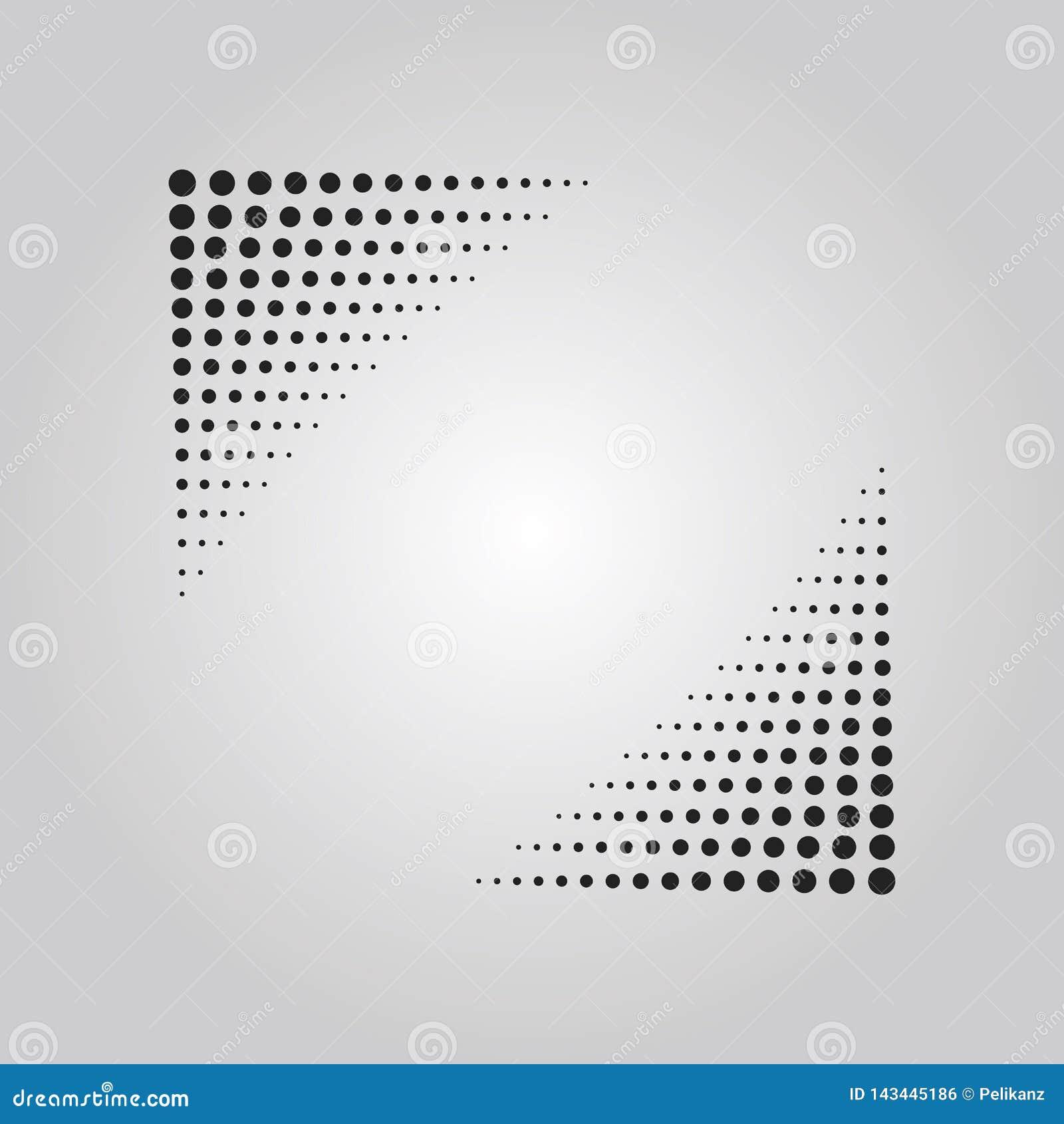 Het abstracte zwarte effect van de punten halftone techniek in vorm van driehoekshoeken ontwerpt element