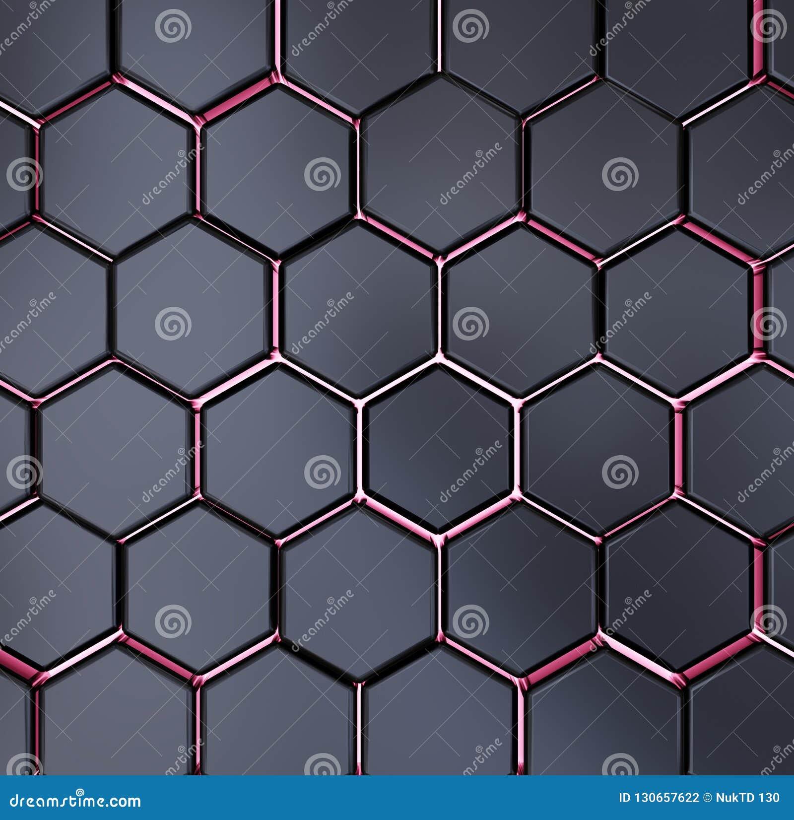 Het abstracte zwarte en rode hexagon textuur achtergrondpatroon 3d teruggeven